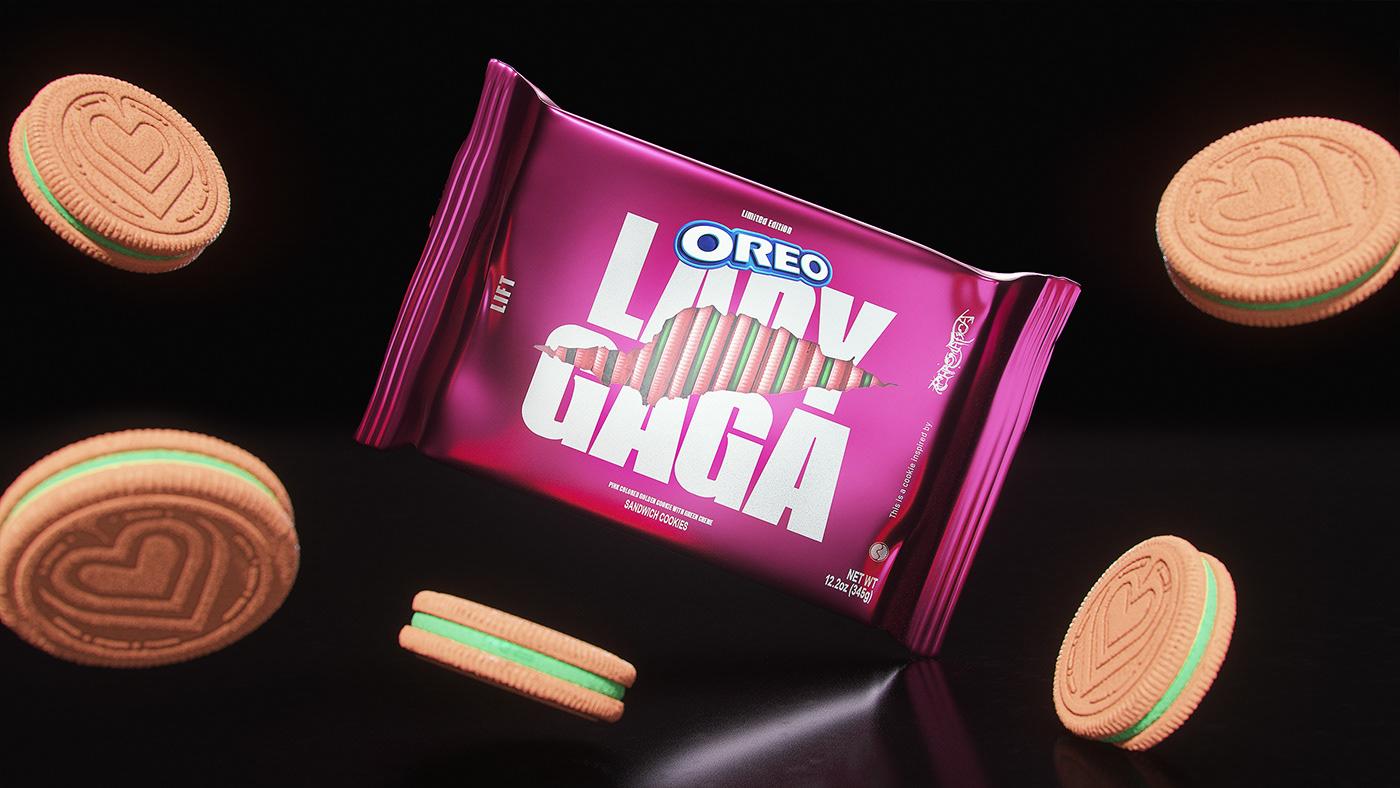 Chromatica Entertainment Food  ladygaga music oreo pop music product typography   80s