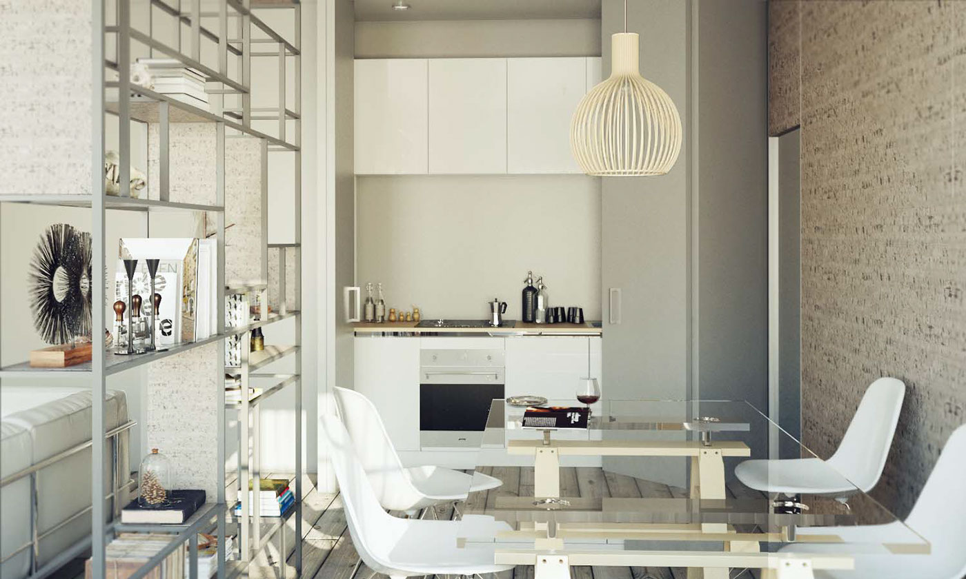 Interior living vray 3dsmax Render smallliving ecoliving design industrial salotto Cucina openspace