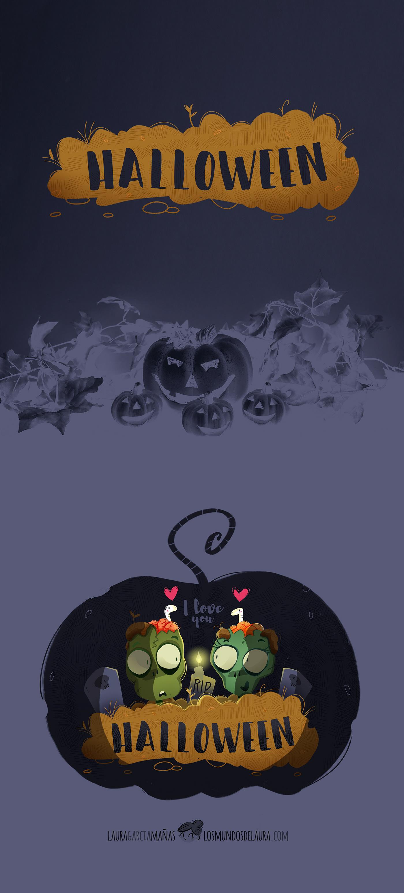 zombie infantil Halloween calabaza