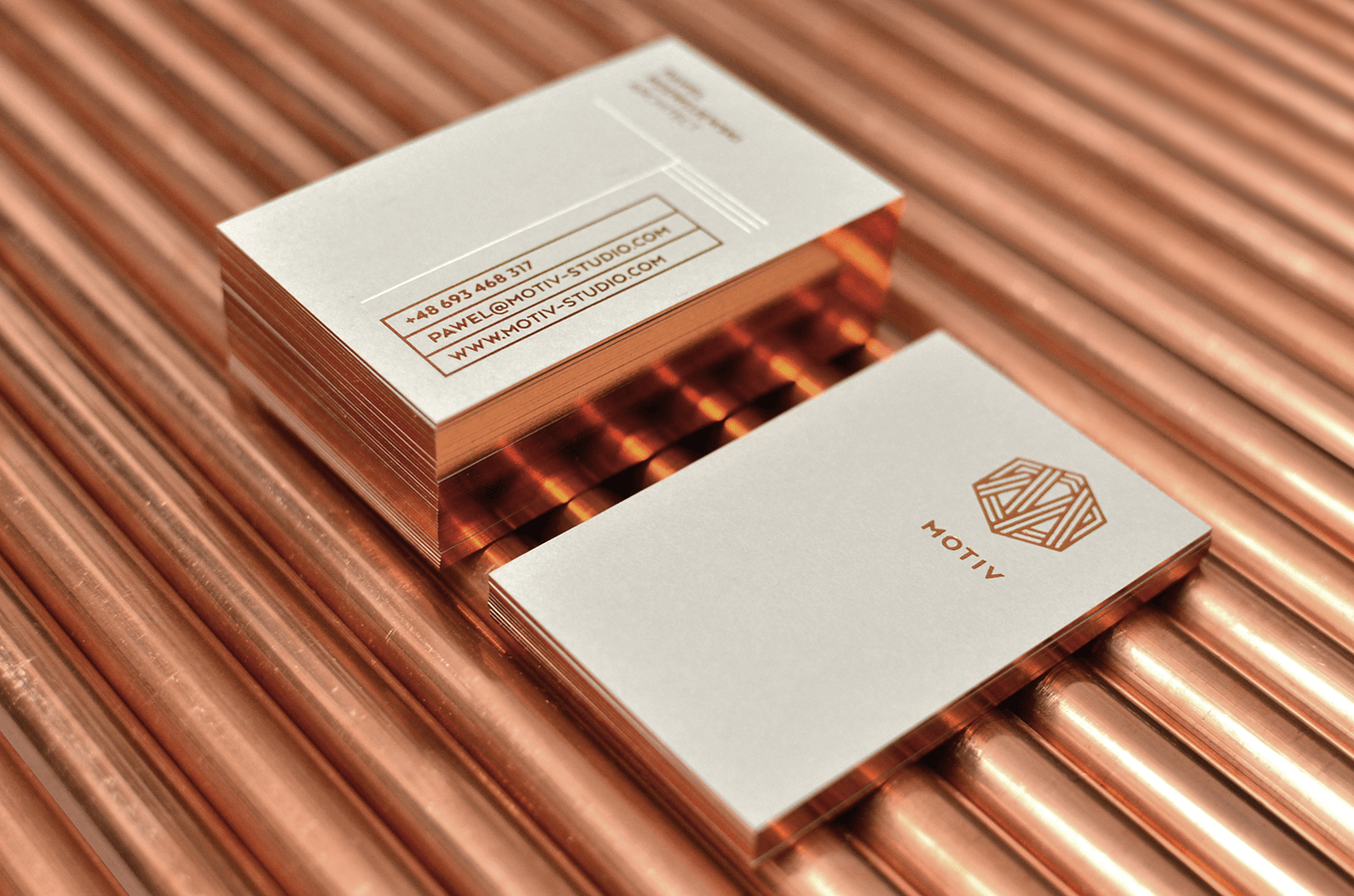 copper branding  Business Cards astronauts collage Negation motiv pipes
