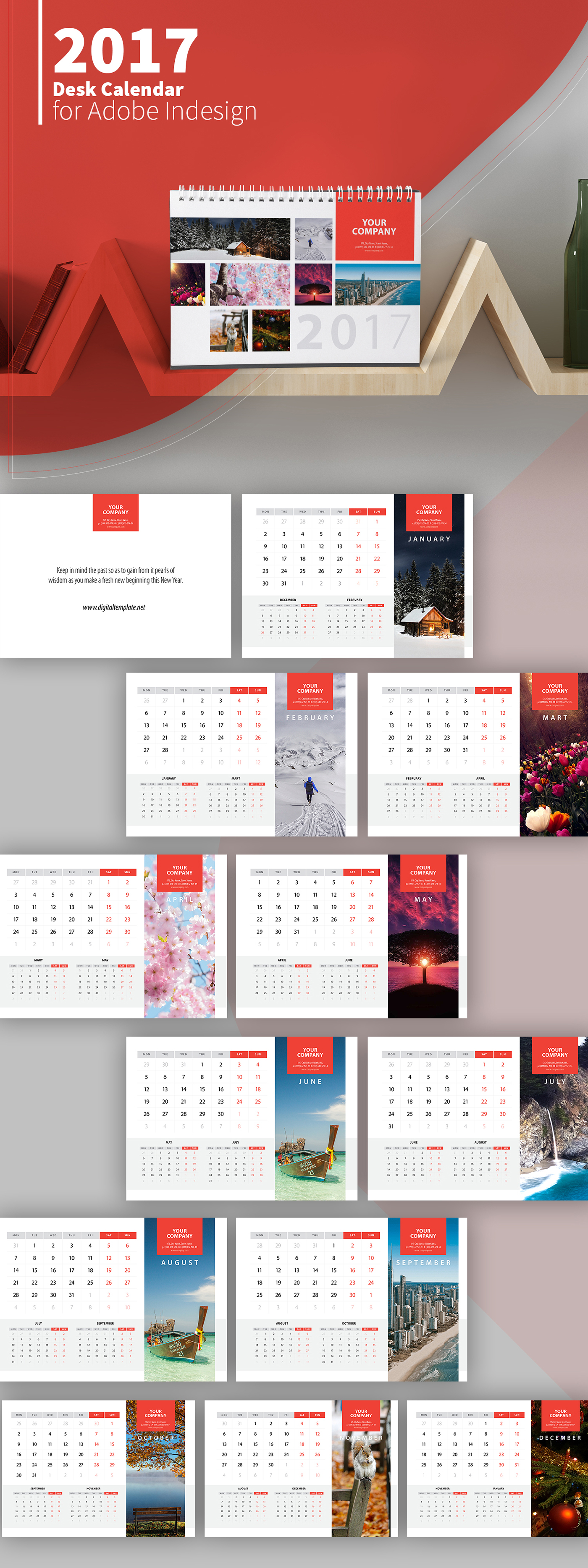 Freebie 2017 Desk Calendar Template on Behance