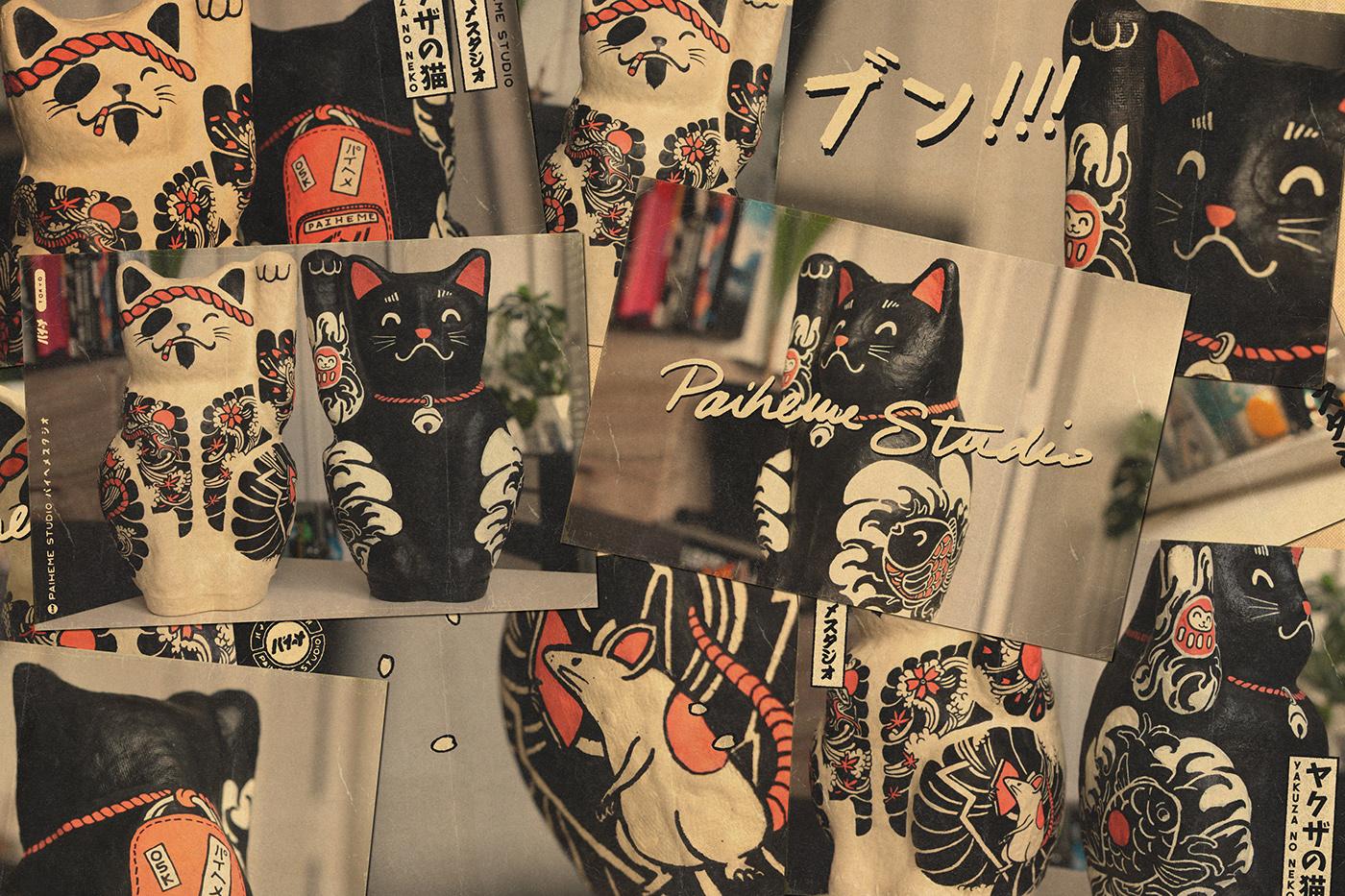 paiheme graphicdesign vintage Retro paihemestudio typography   JapaneseDesign Exhibition  tattoo japan