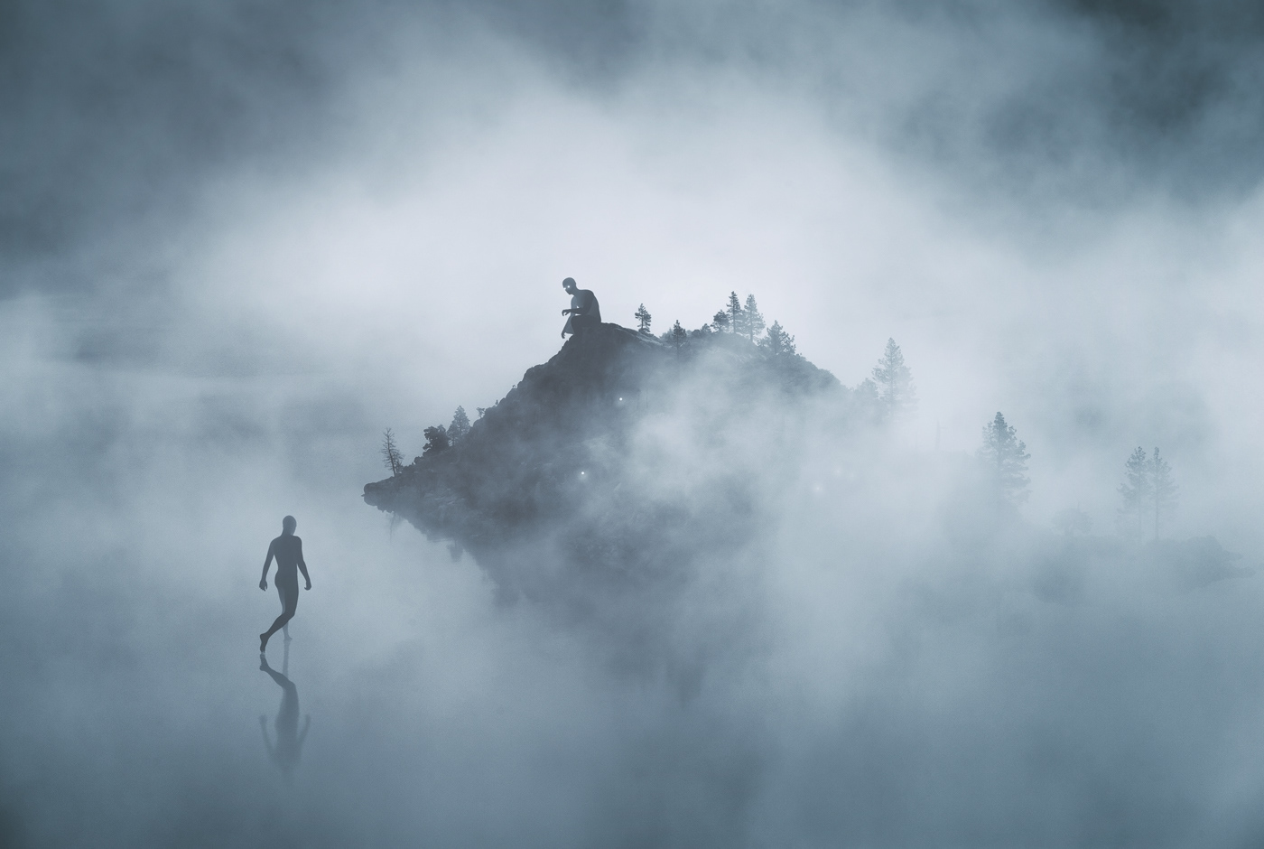 surreal,geometry,vector,collage,Photo Manipulation ,dreamy,giant,fog,Nature,Landscape