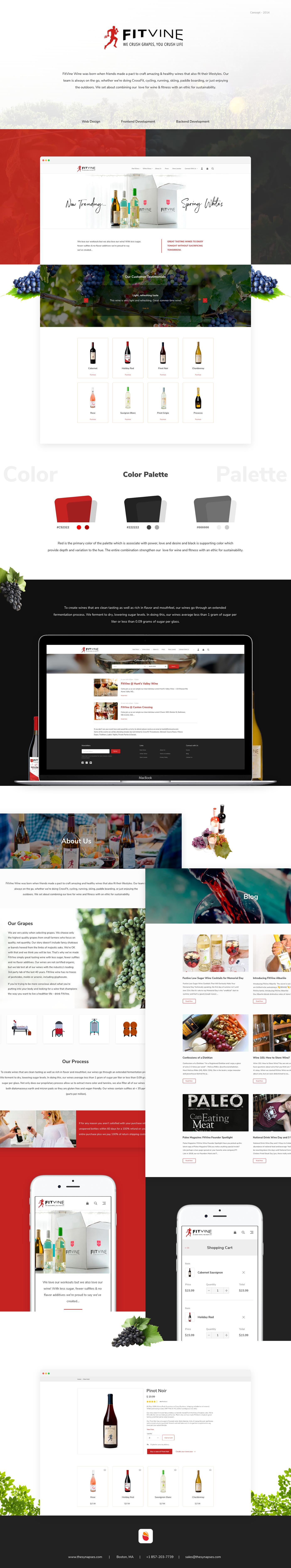 interactive portfolio UI Web Design  iOS App wine brand grapes red black theme Ecommerce