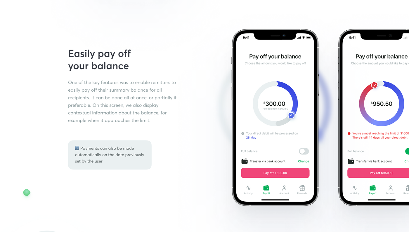 balance banking card Case Study credit interaction mobile safety spending UI/UX