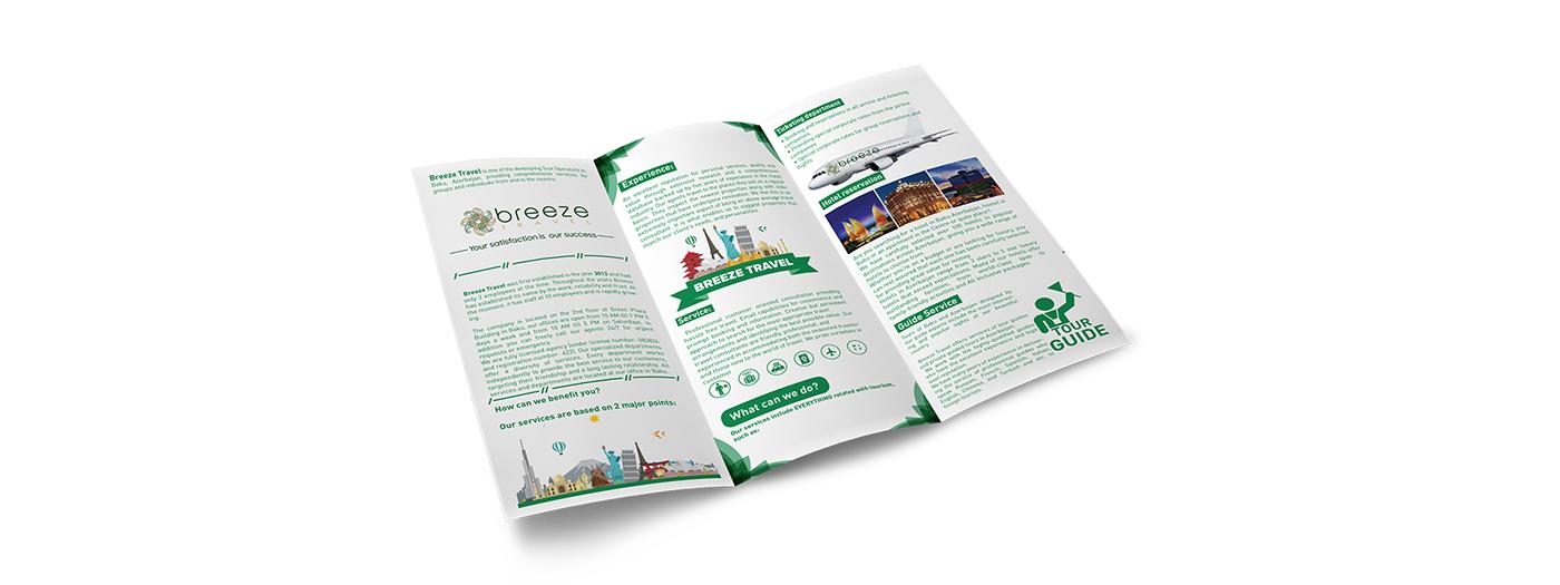 branding  Travel baku azerbaijan magazine business card journal bag trifold baki
