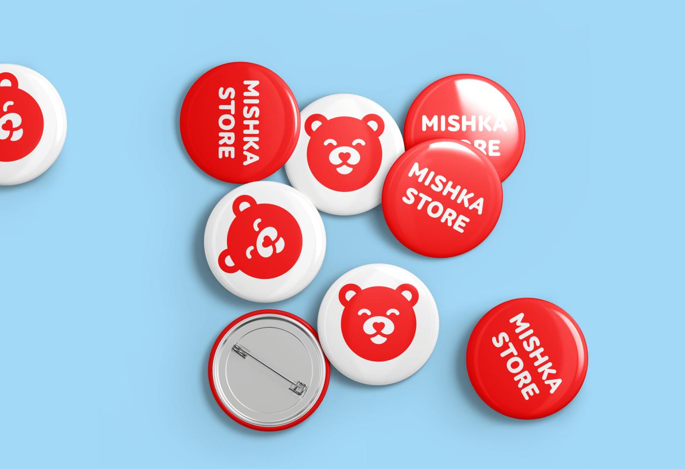Mishka store branding  identity bear design berik yergaliyev logo