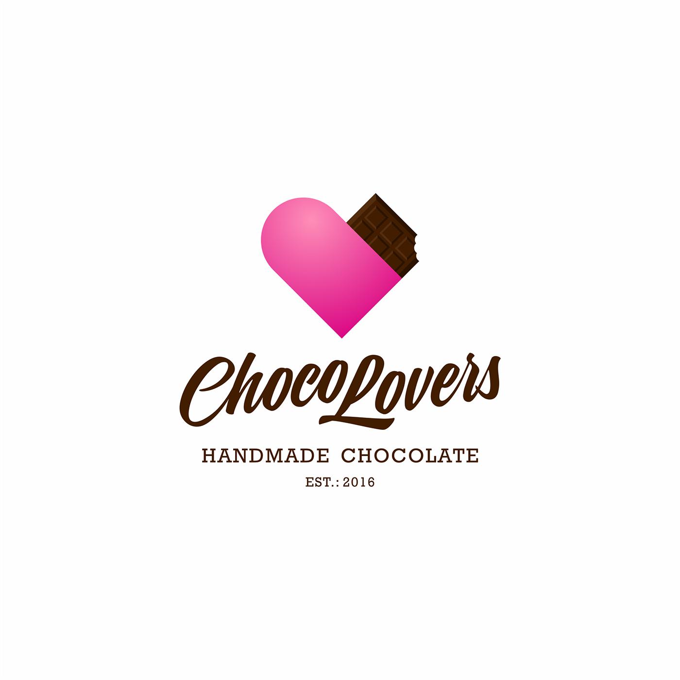 choco Lovers pink chocolate logo branding  identity Packaging