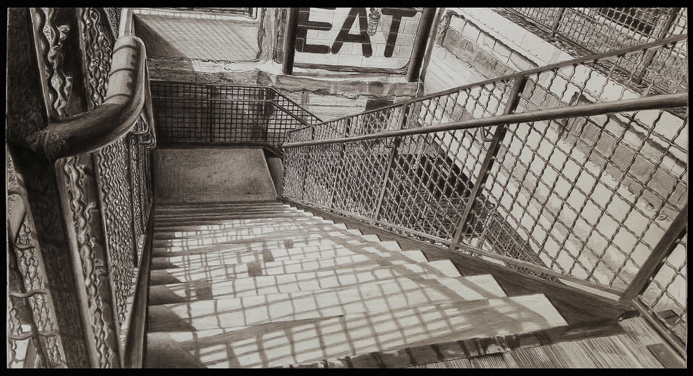 Staircase Observation, 25in x 14in
