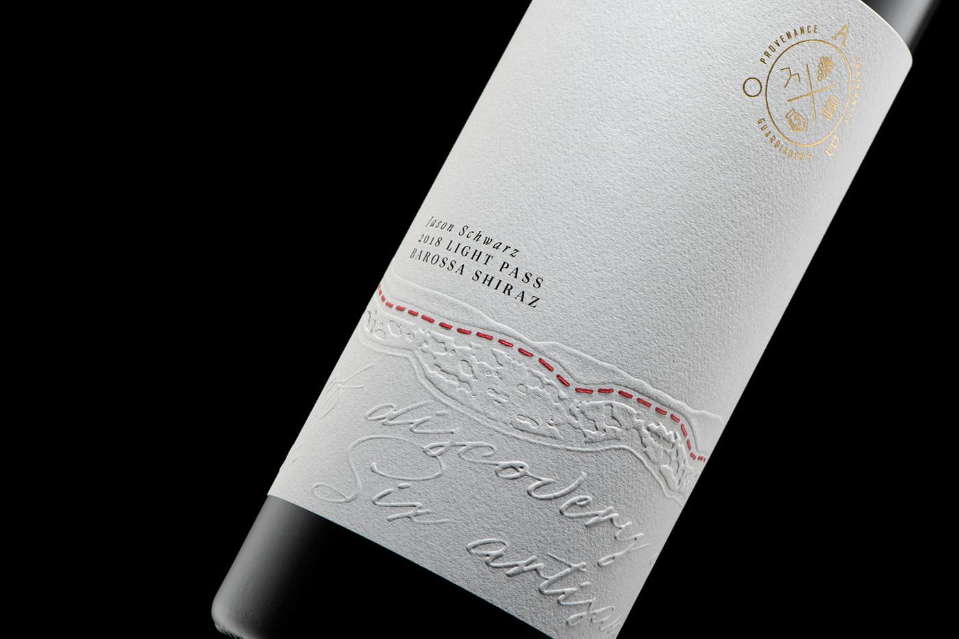 wine Packaging branding  graphic design  barossa South Australia emboss foil wine label Wine Packaging