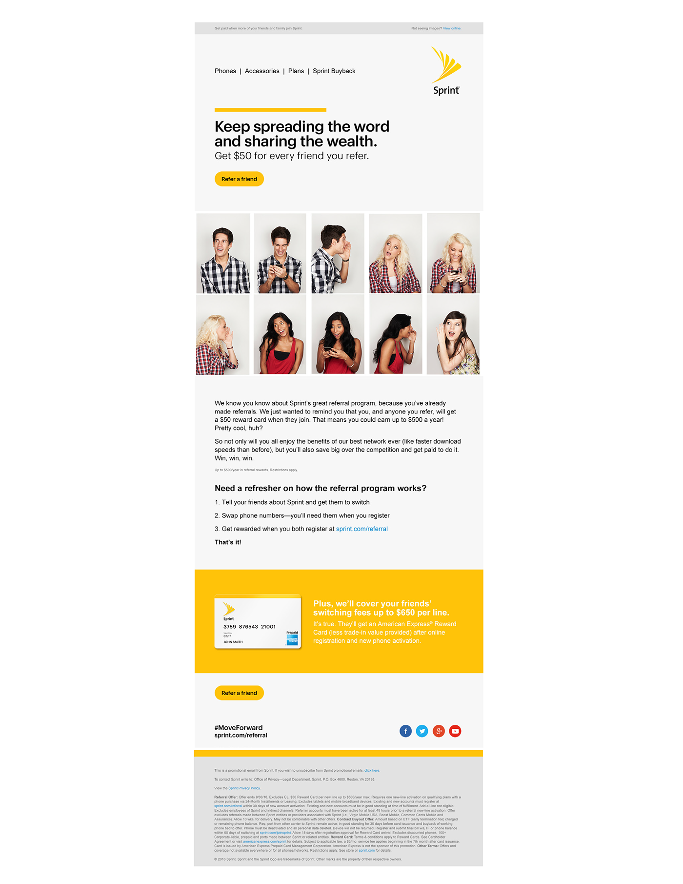 sprint referral email on behance