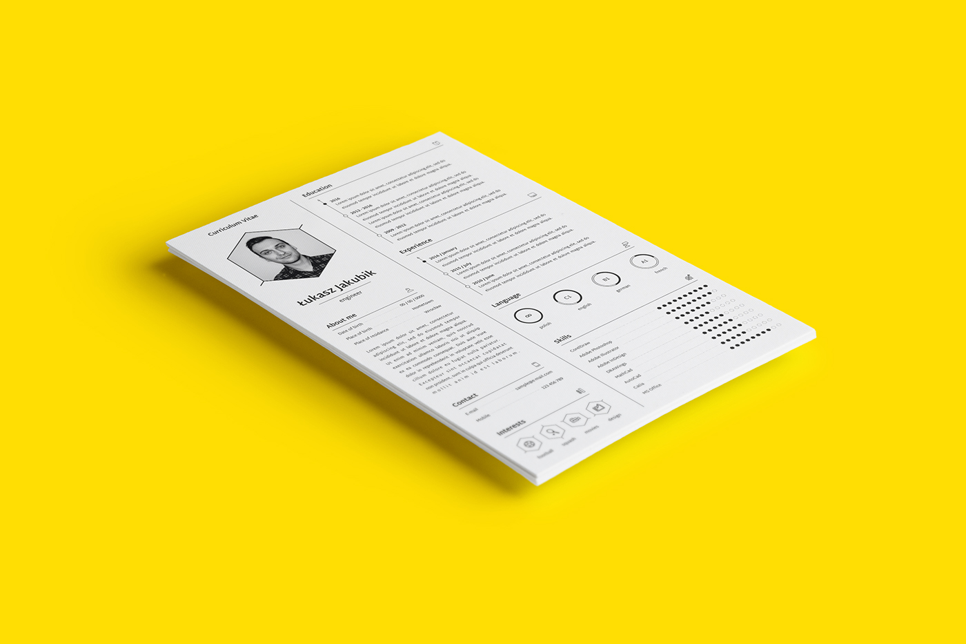 free freebie CV Resume letter Mockup template