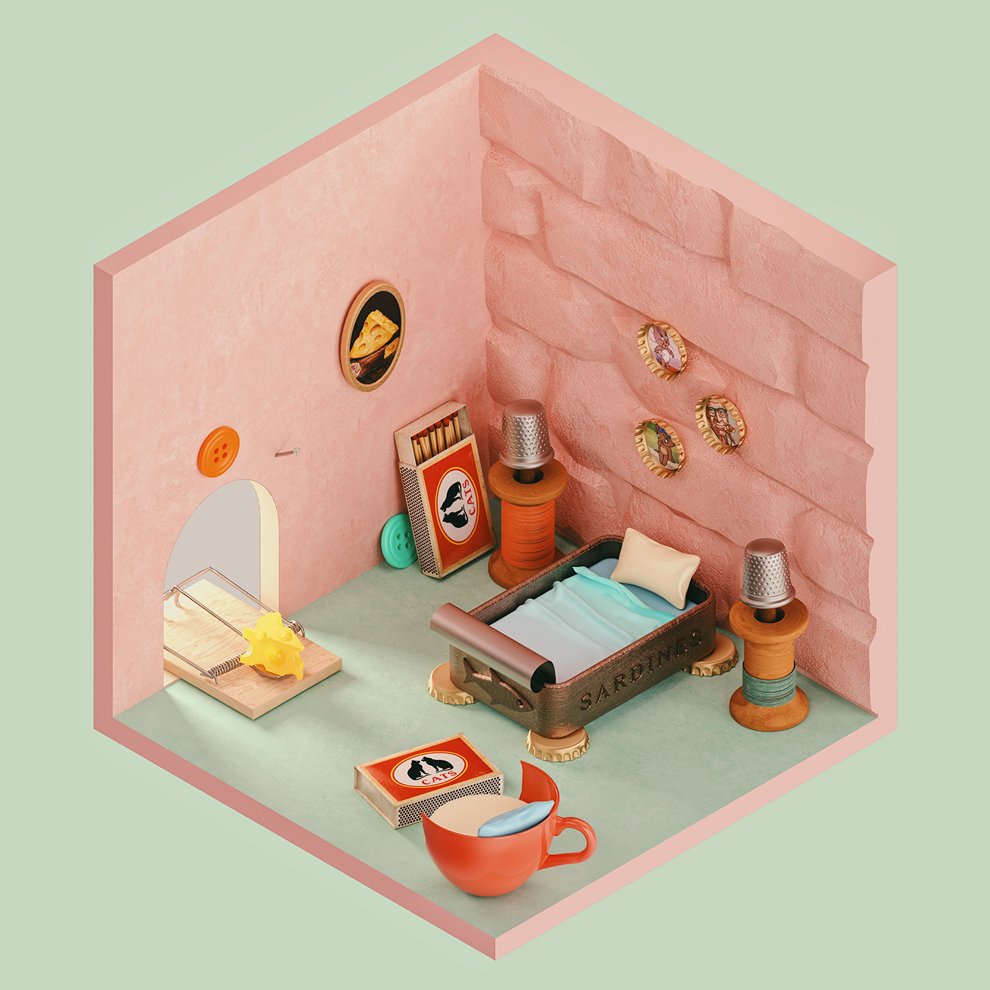 Image may contain: cartoon, wall and indoor