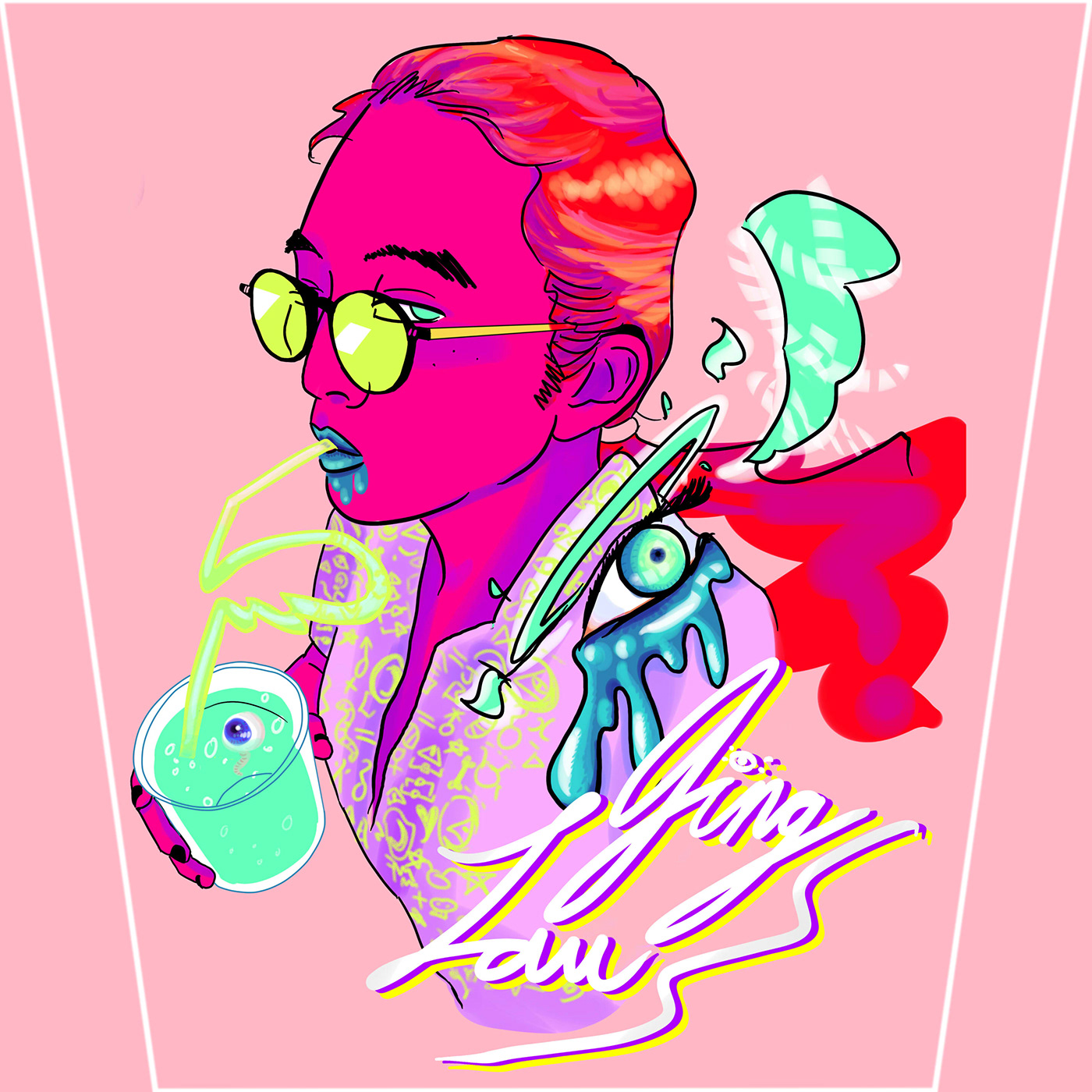 Digital Art  graphic design  Pop Art bright colors self portrait Poster Design