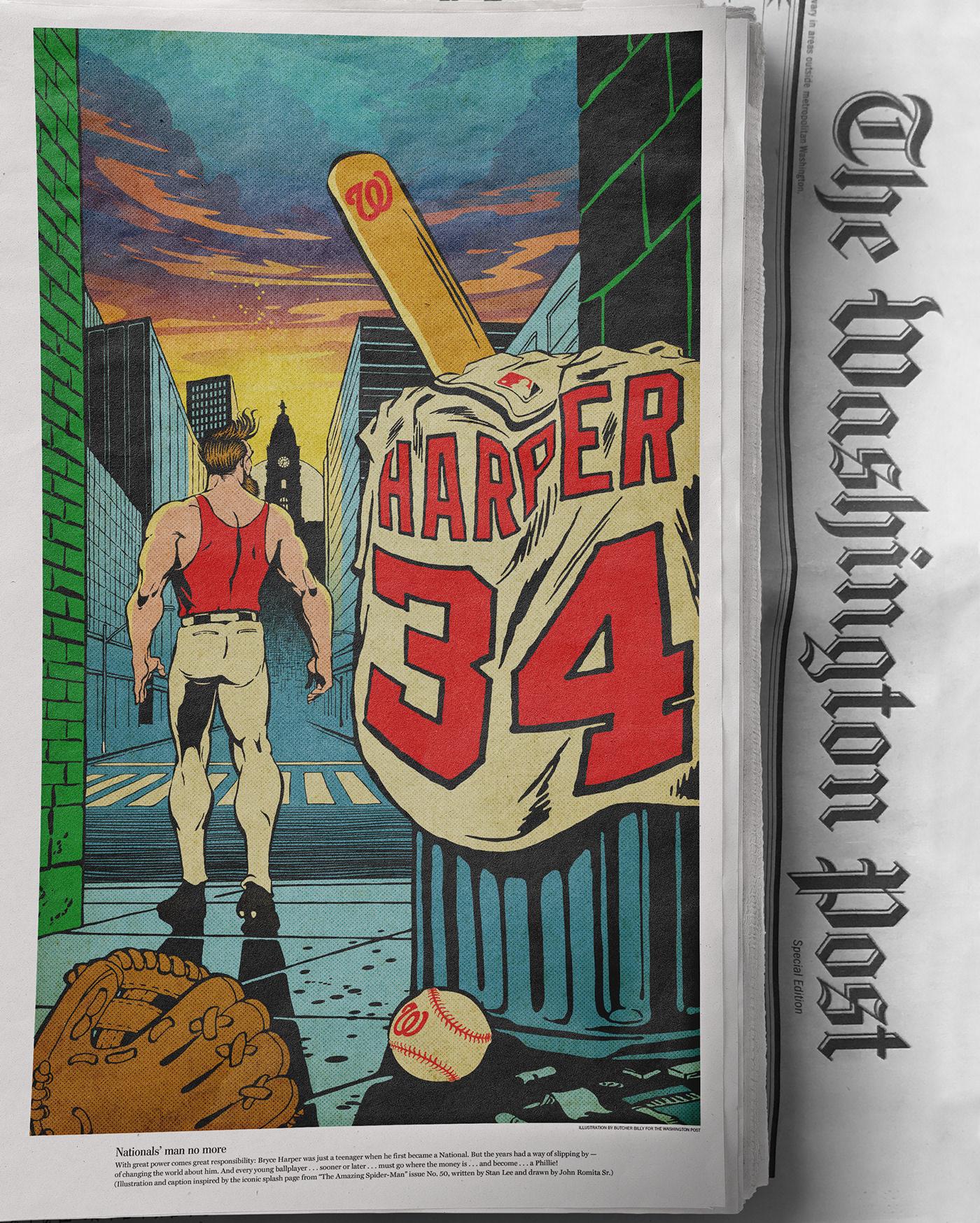 the washington post Nationals washington nationals bryce harper baseball sports newspaper spider-man vintage comics