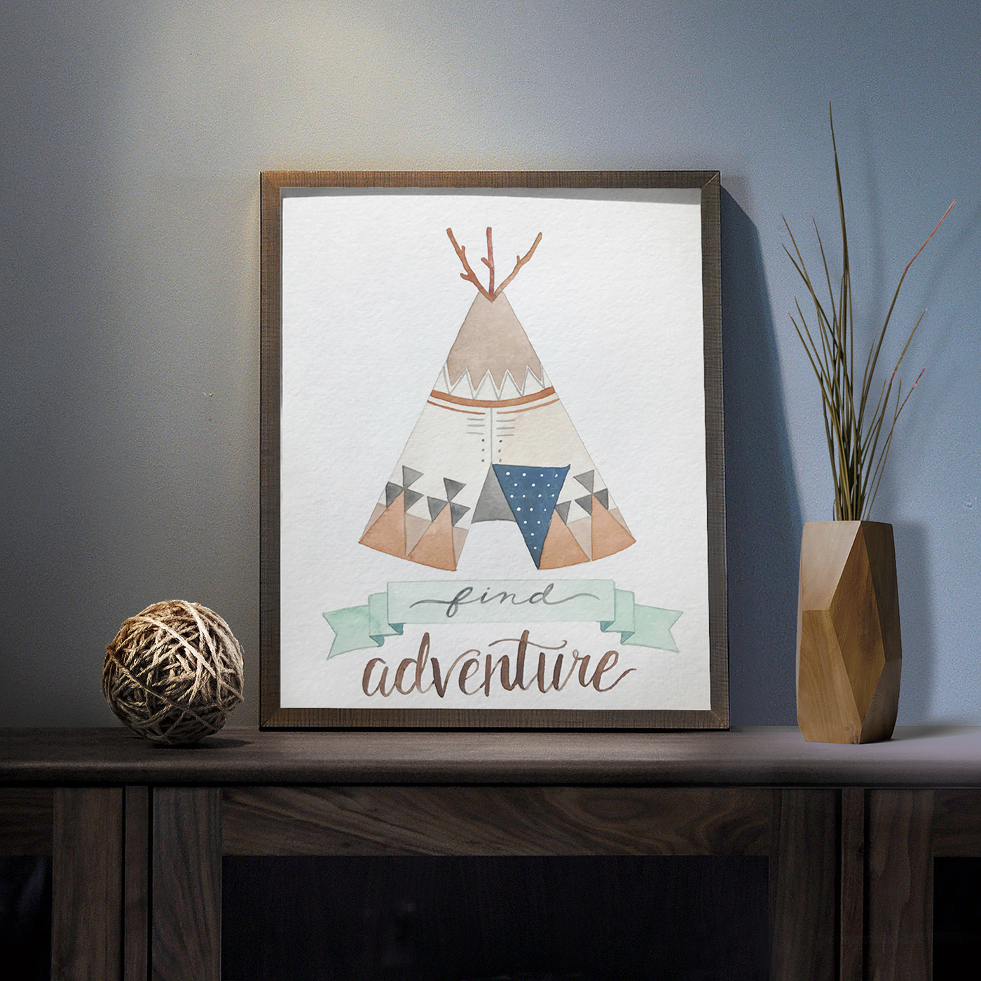 ILLUSTRATION  watercolore nursery horses Brave feathers arrow indian teepee native american