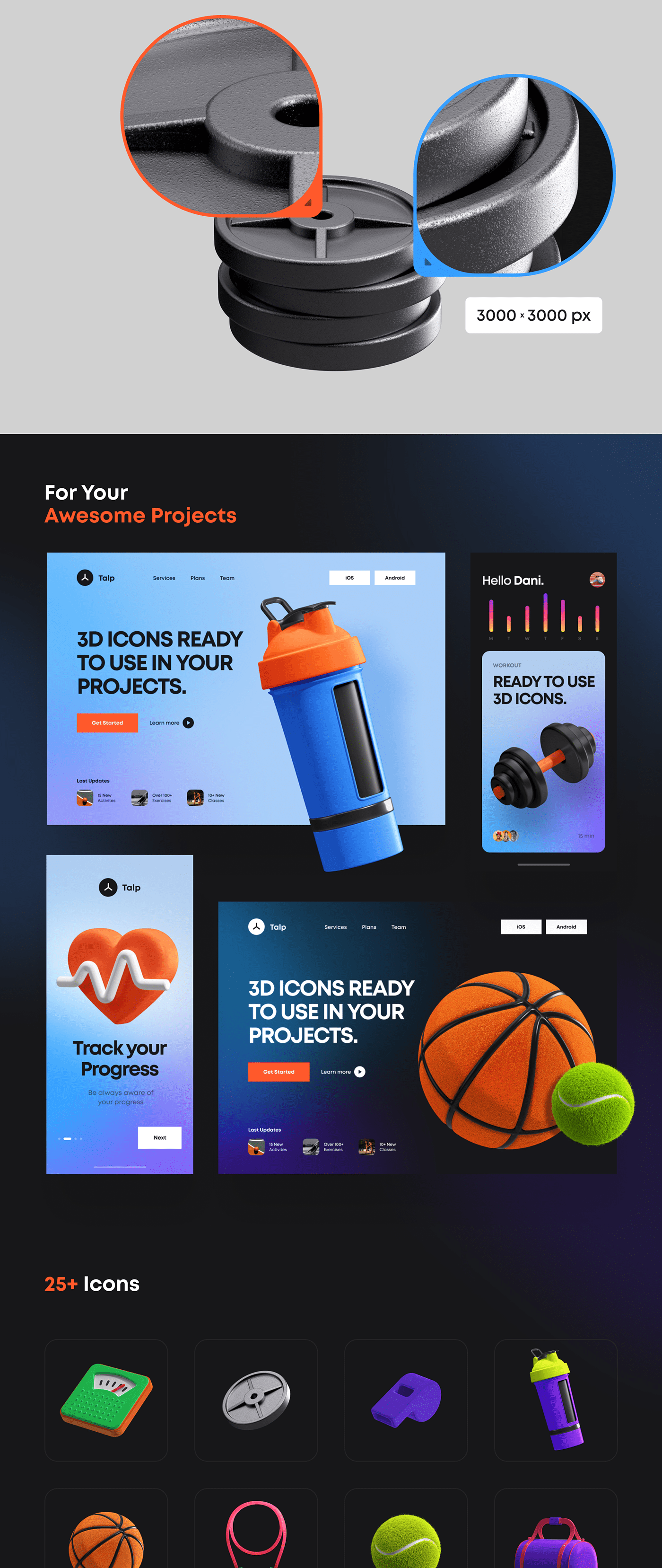 3D app c4d fitness icons Mockup Renders UI ui8