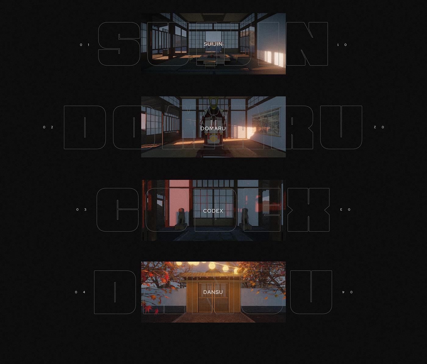 3D 3d art animation  Audio Visual audiovisual blender Eevee japanese samurai visualization