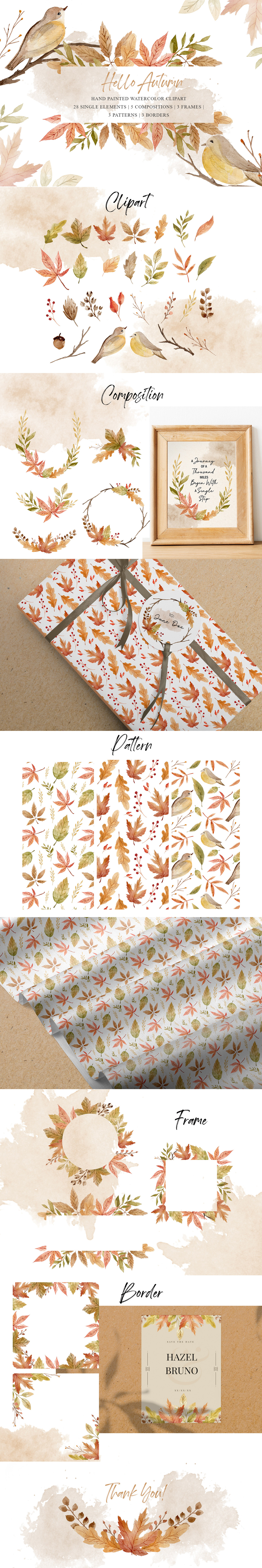 Free Autumn Watercolor Cliparts is an amazing autumn series hand painted watercolor set.