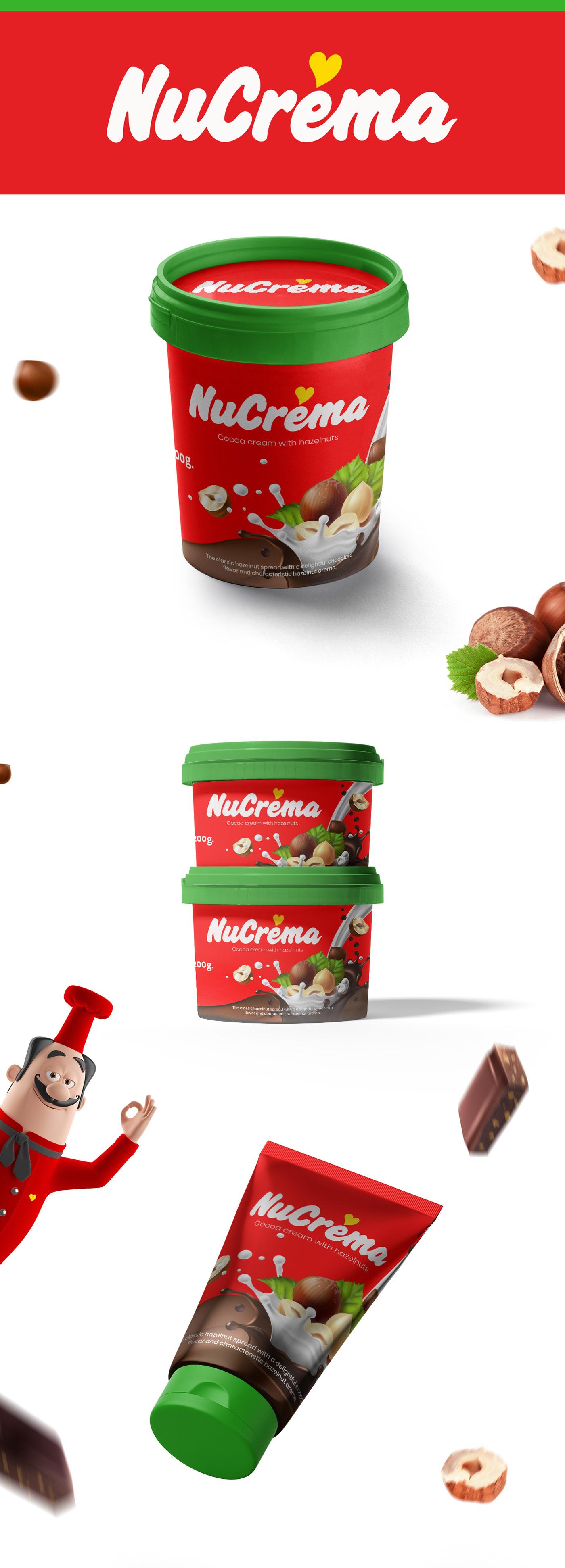 chocolate nutella spread hazelnut Packaging Nucrema modern red identity Cadbury