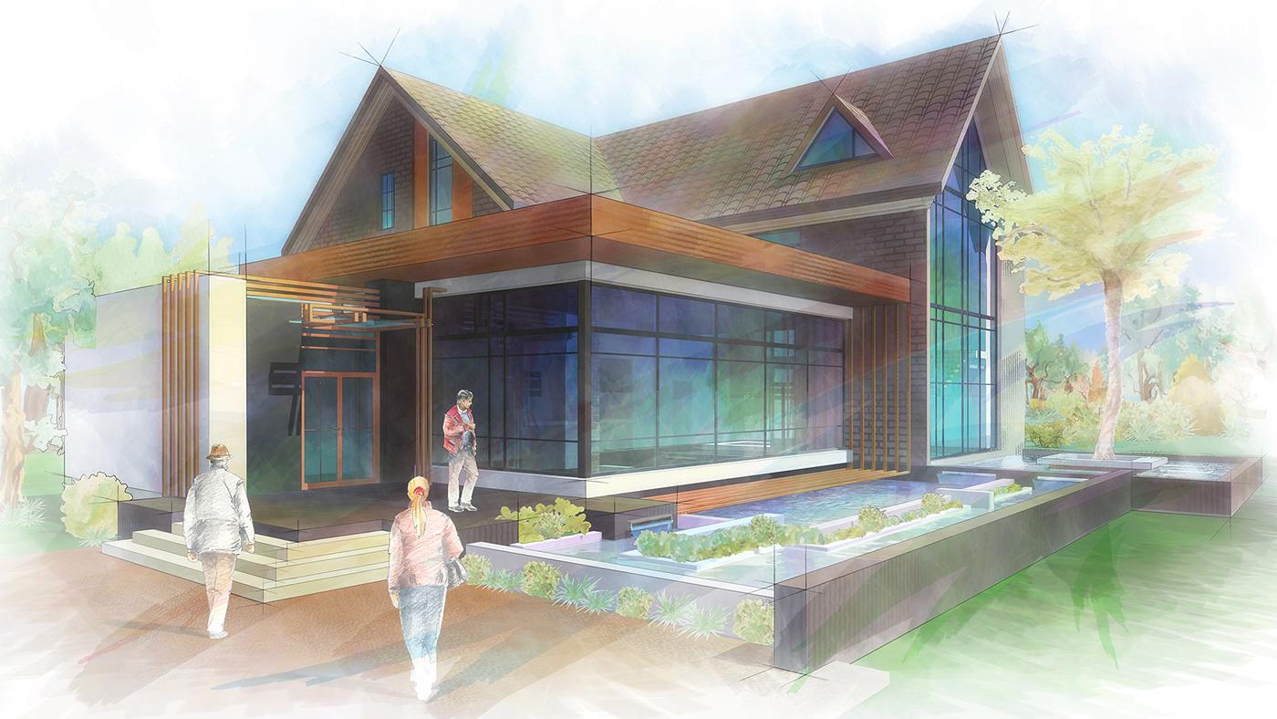 tourist base draft design Training Project Piranesi sketch graphics tablet Digital Art  architectural design wacom student project