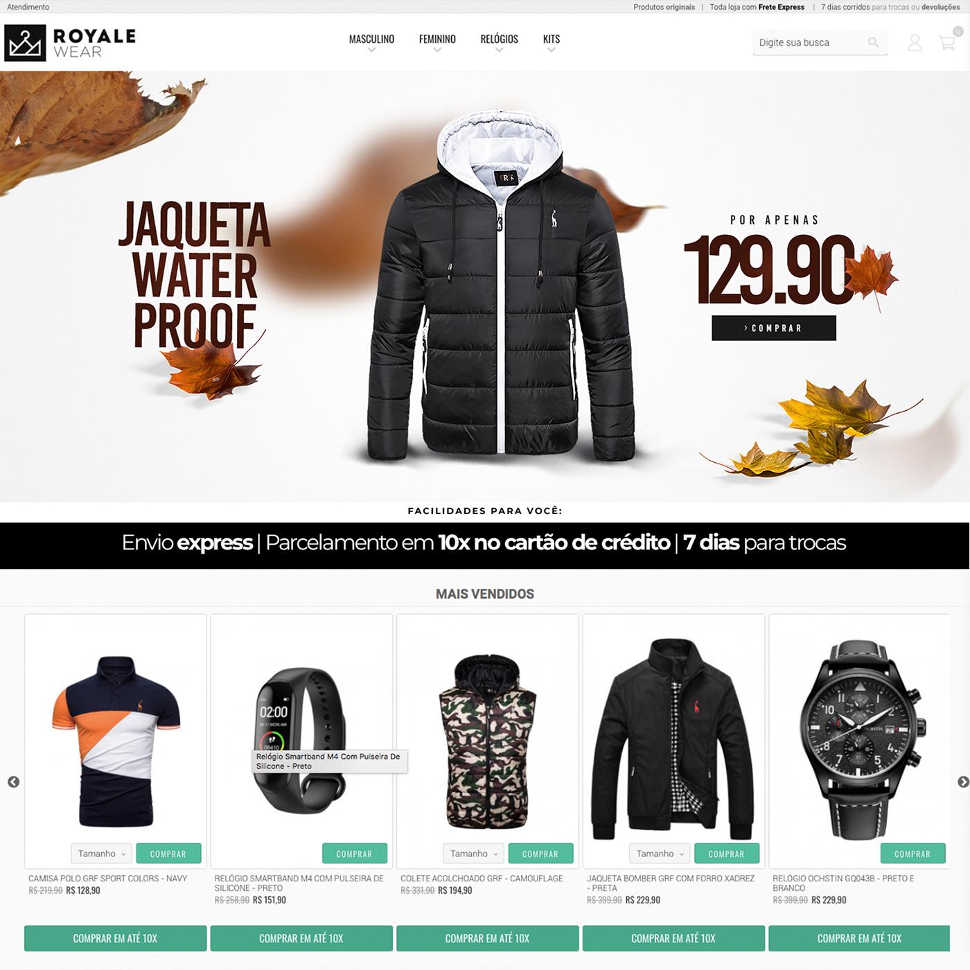 banners Capa design gráfico e-commerce Ecommerce home home page Loja Virtual photoshop royalewear