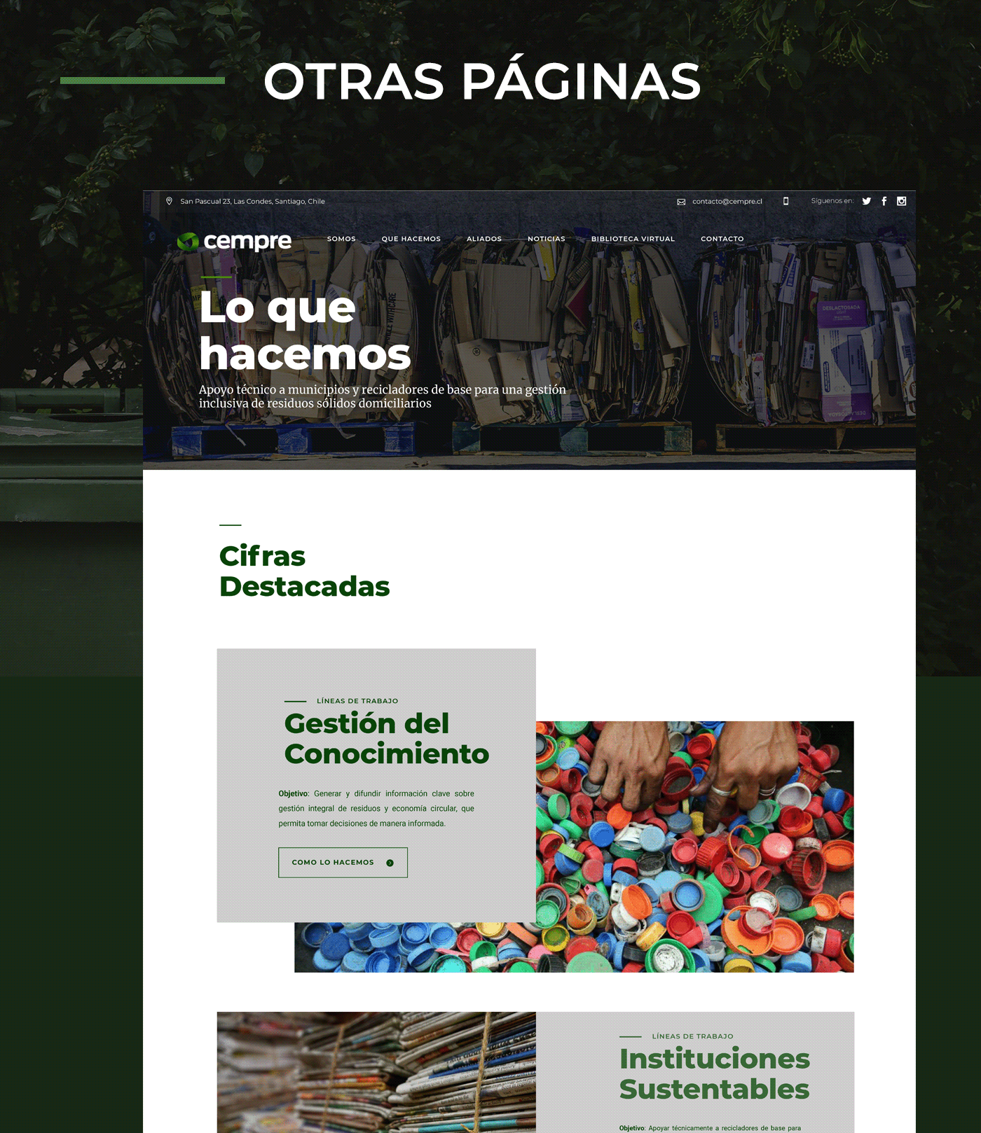 design diseño elementor evergreen green medioambiente reciclaje Web wordpress