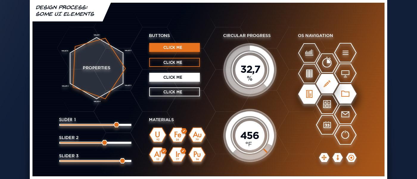 FUI UI Screen Design holograpic holo