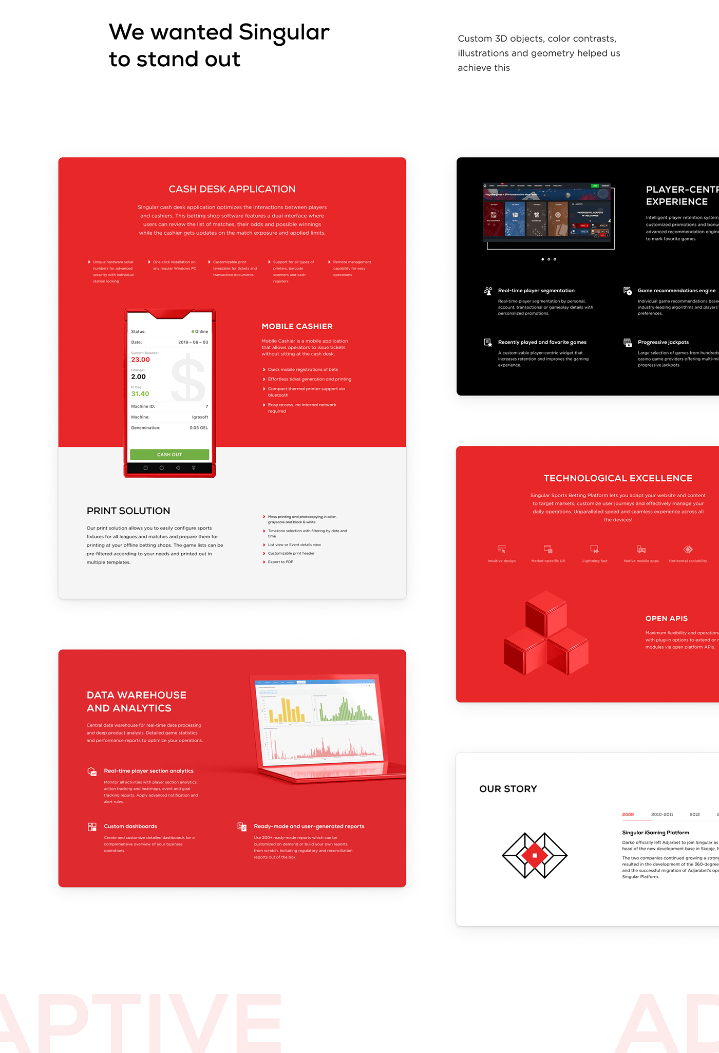 3D abstract awesome design Gaming Interface red UI ux Website