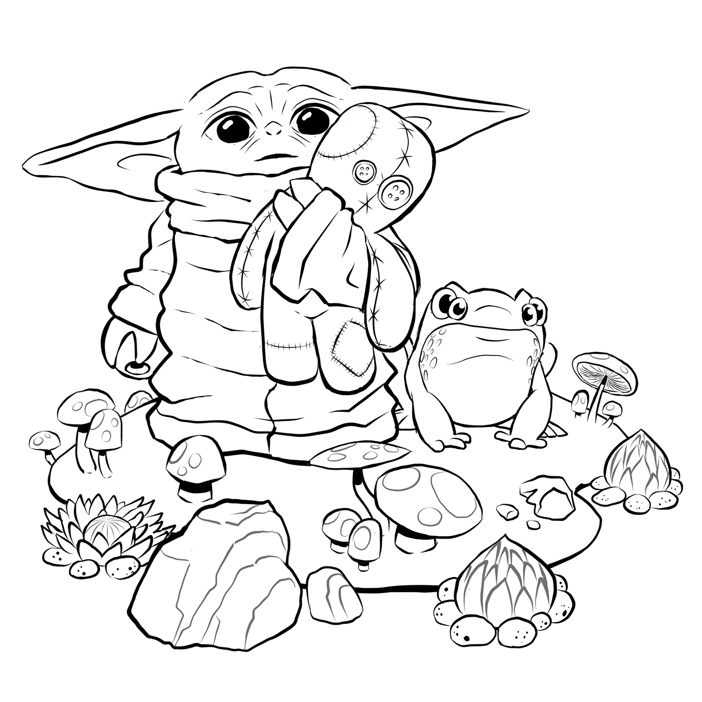 Baby Yoda Coloring Page on Behance