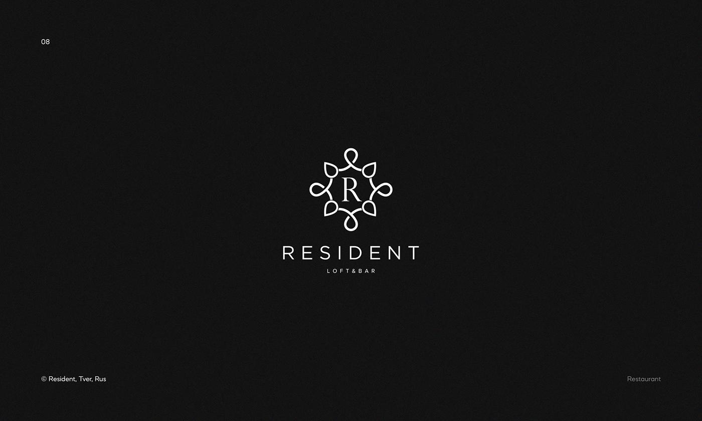 Logo for Resident — loft&bar based in Tver, Russia.