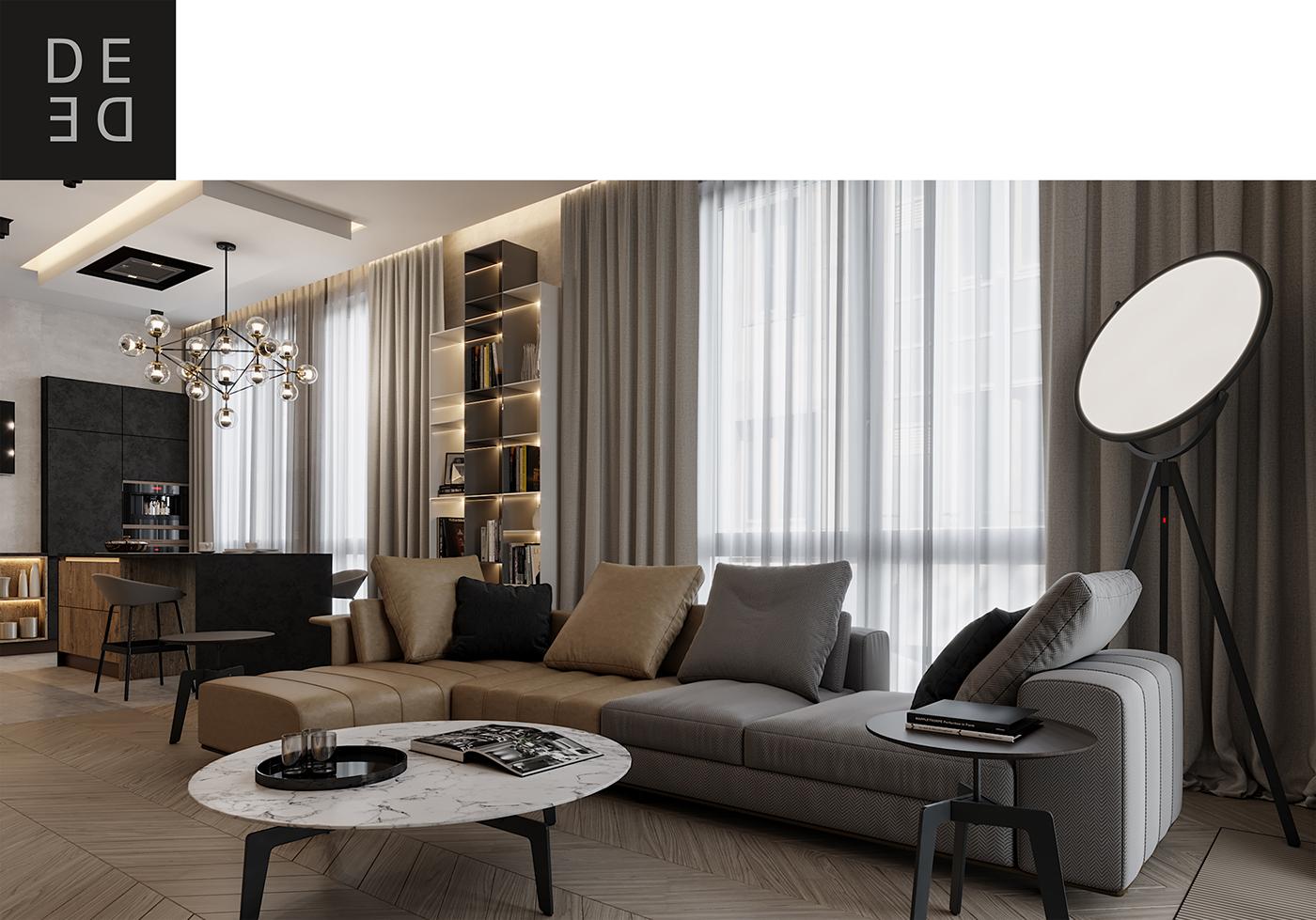 Interior design interiordesign Minimalism modern DE&DE Interior Studio interior designer CoronaRender  3ds max photoshop