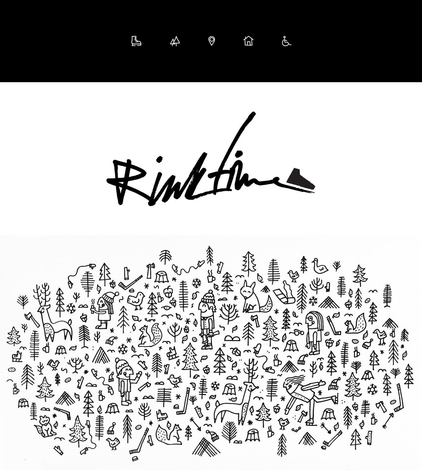 app branding  handwriting ILLUSTRATION  ios rink schedule Skating time Web