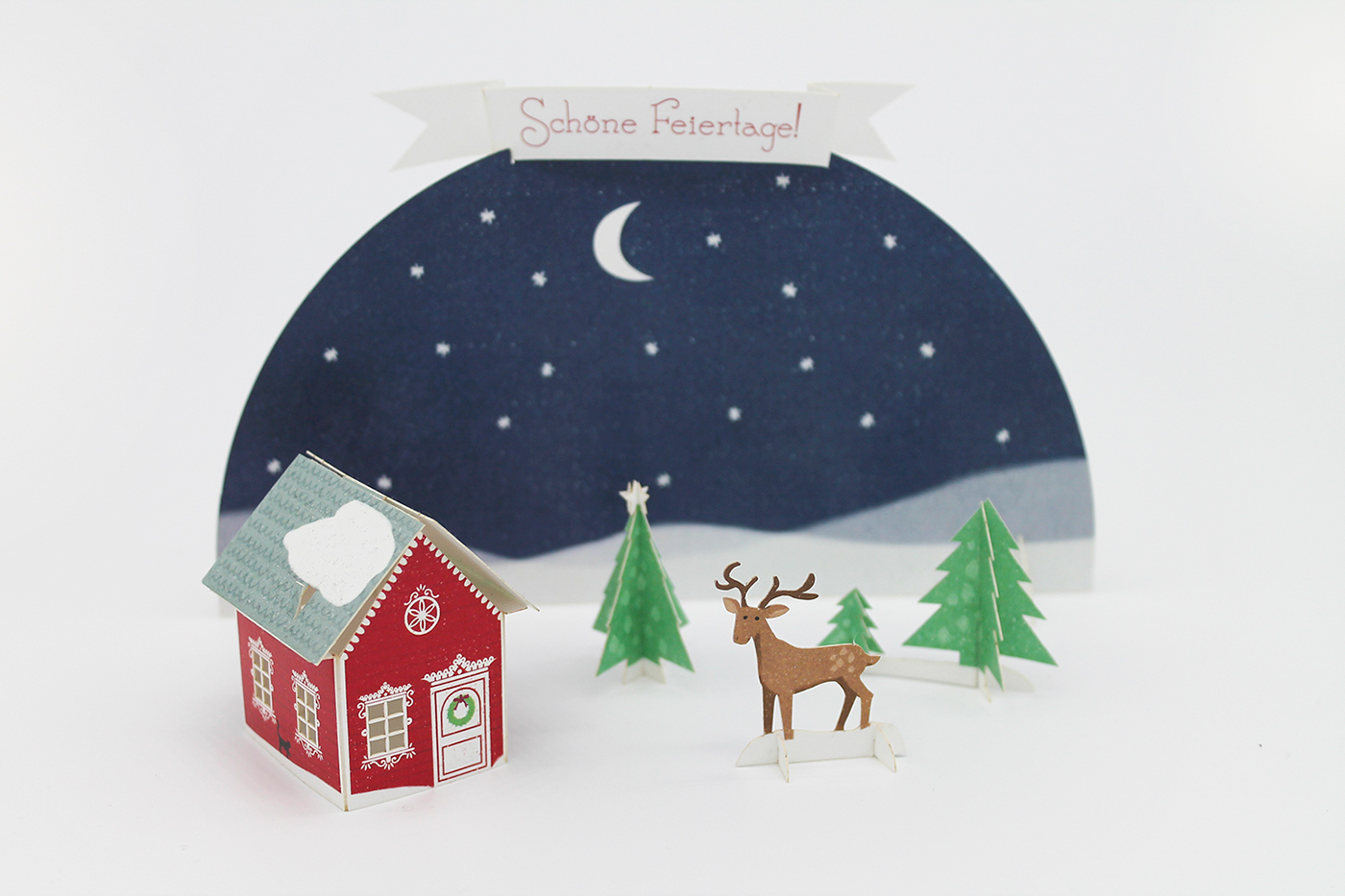 greeting card Holiday Mailing Christmas paper paperart papercraft popup card 3D Card house deer Landscape winter