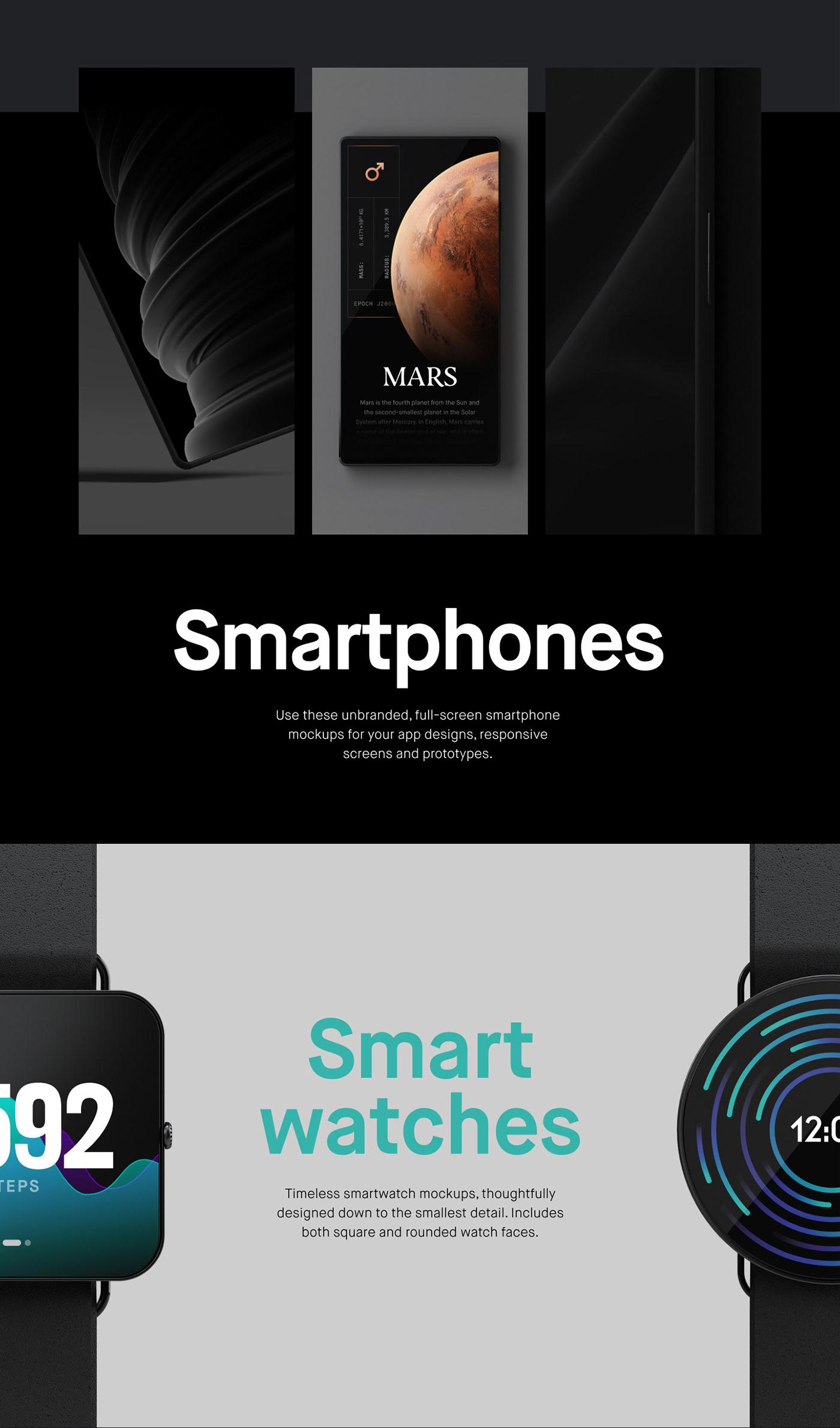ux UI device rendering 3D premium smartphone home device smartwatch watch