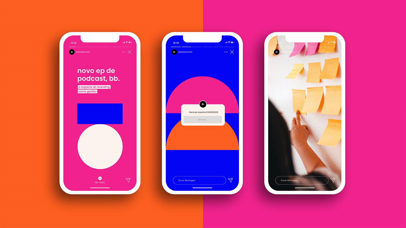 Brand Design branding  geometric studio blue design studio orange pink