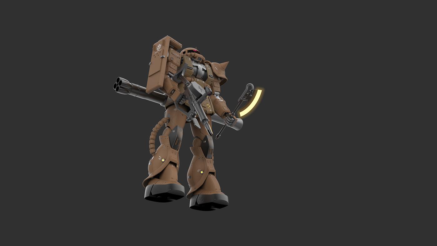 cad computer rendering Gundam modelling zaku visualization