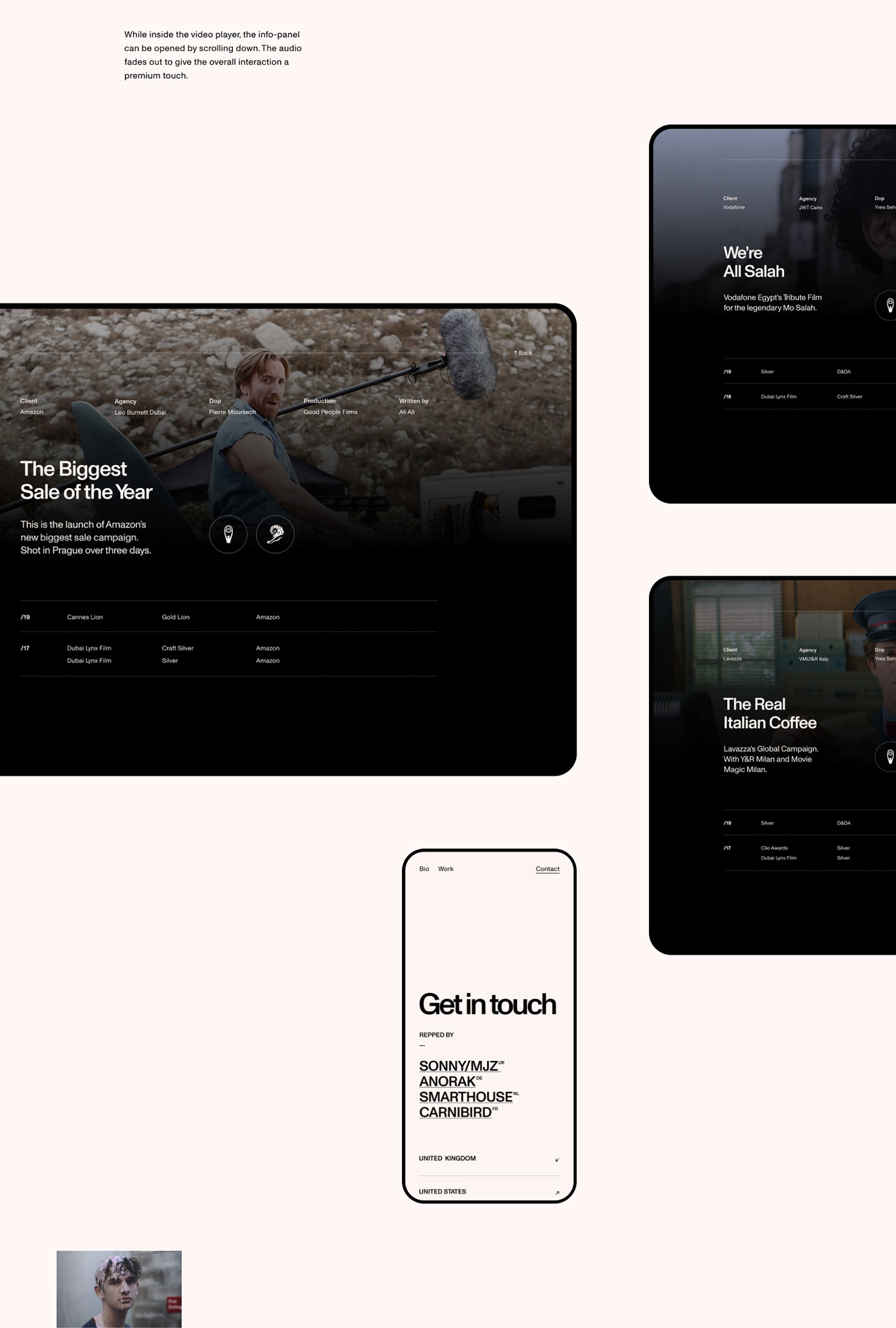 swiss design style portfolio website for a film director, showcasing tablet versions
