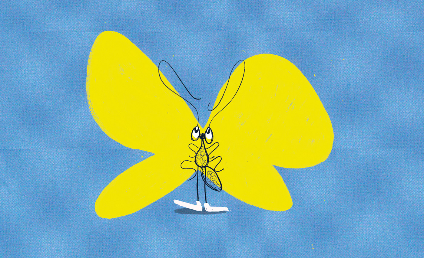 Image may contain: cartoon, child art and butterfly