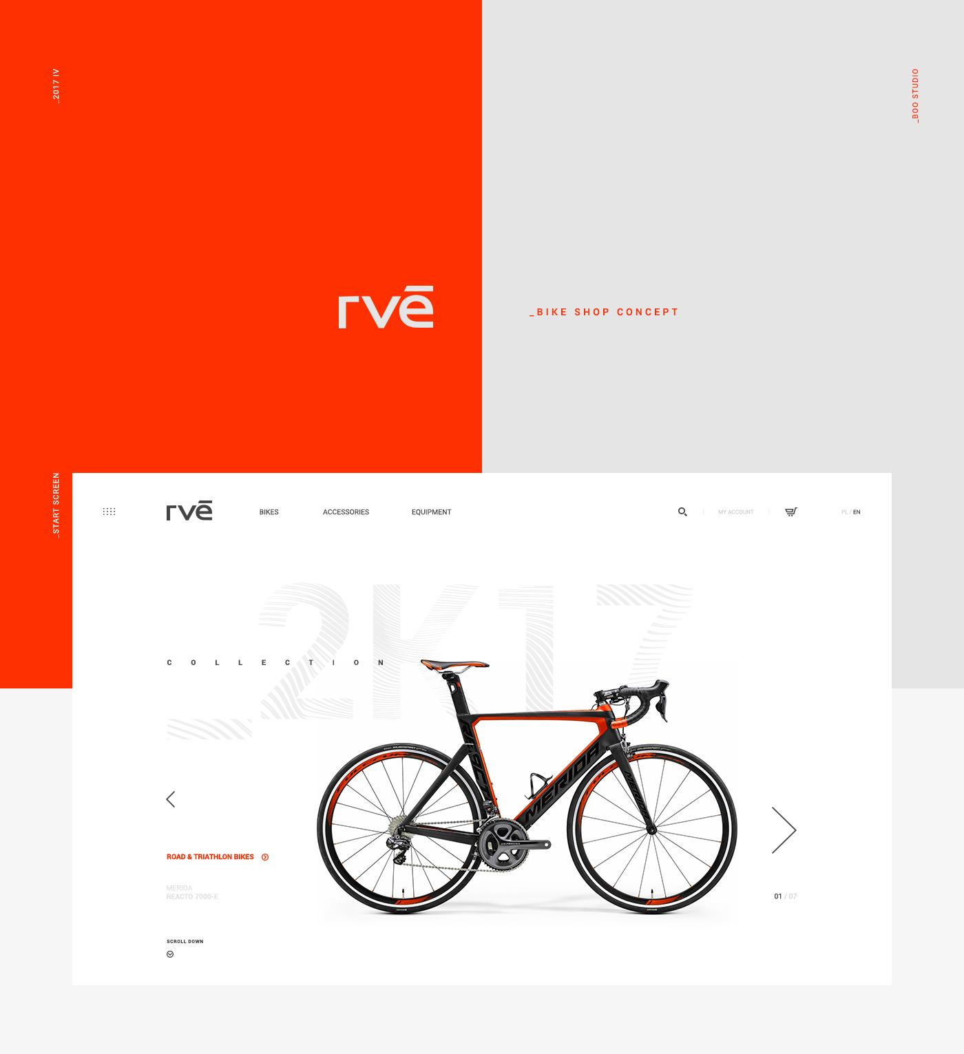 Bike shop concept sport clean orange store design Bicycle RVE