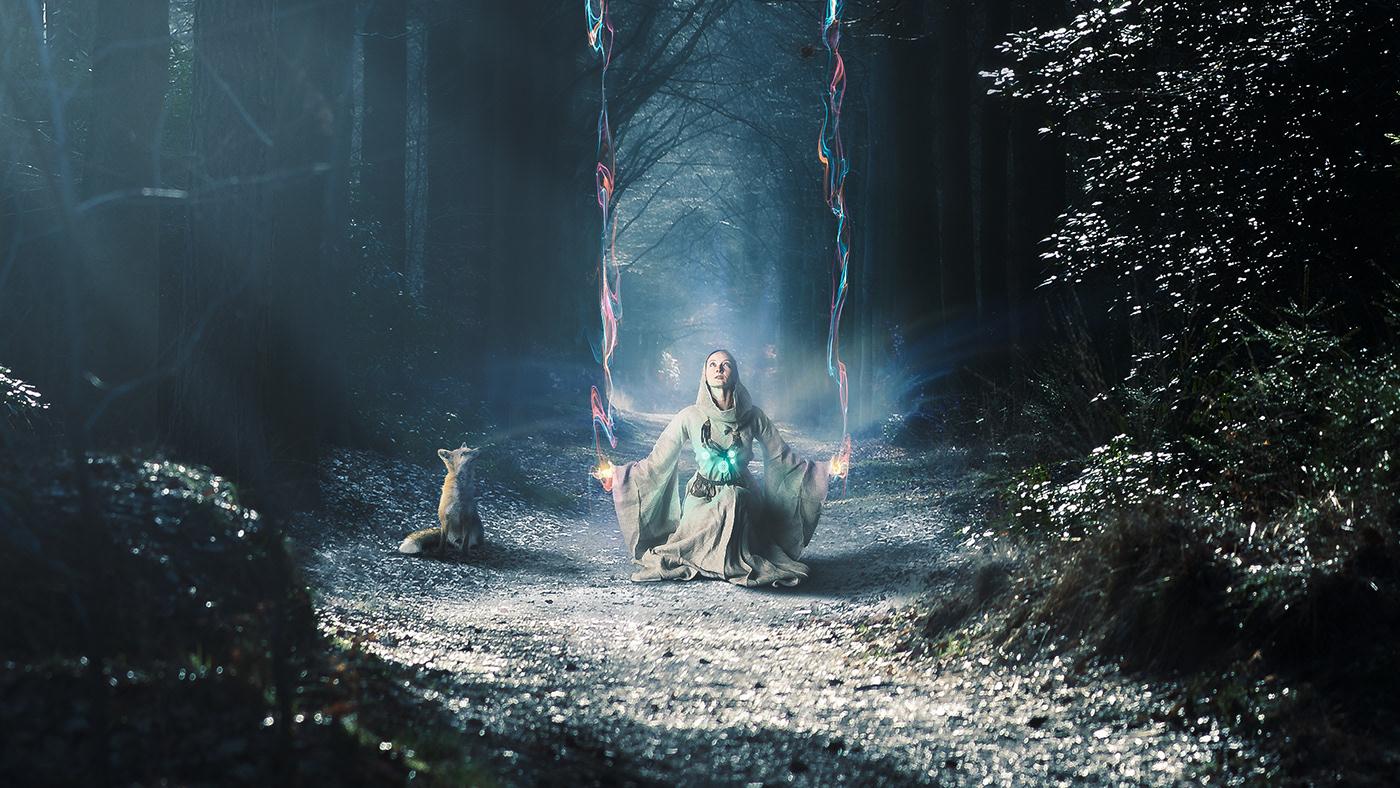 Photo Manipulation  light fairy FOX forest Magic   fantasy photoshop Matte Painting matte paint
