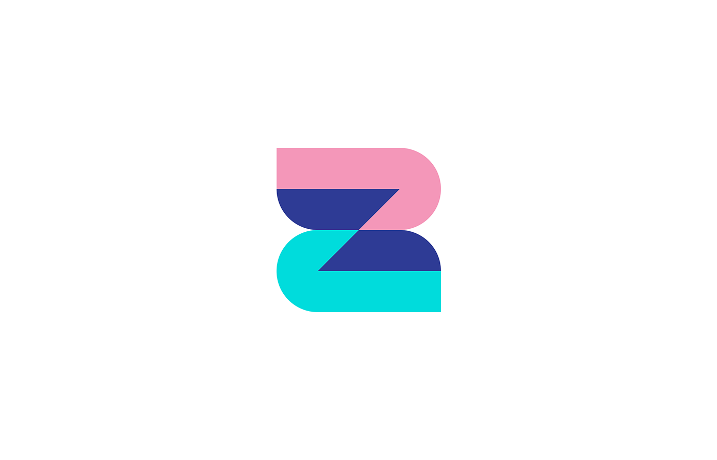 mobile bank logo icon featuring Z letter 3 colors: pink, teal and navy blue