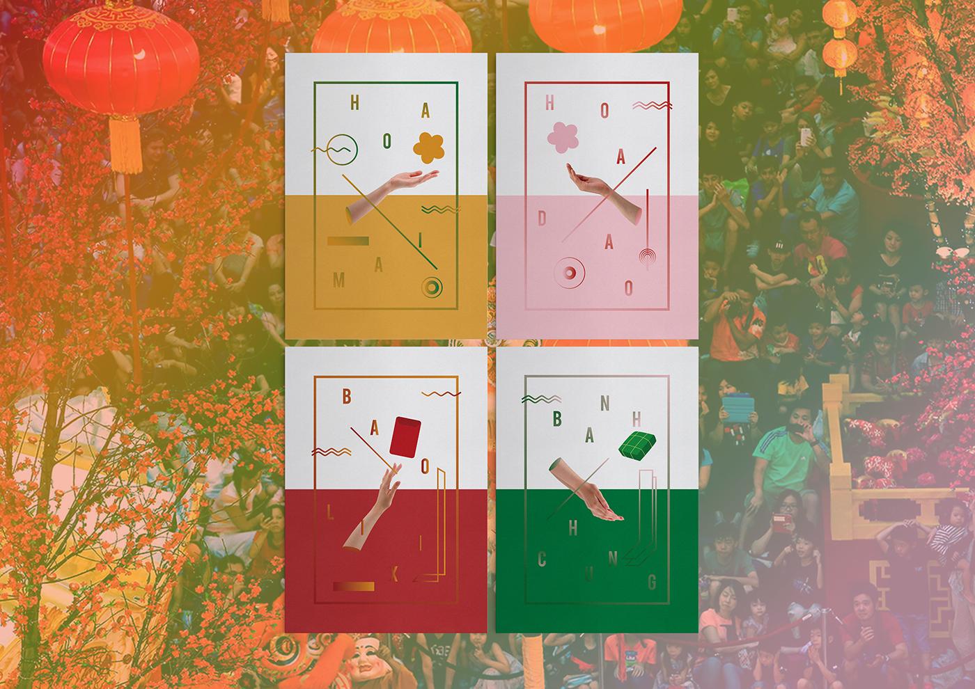 tet poster hoa mai hoa dao bánh chưng decorations vietnam tri Bao lì xi