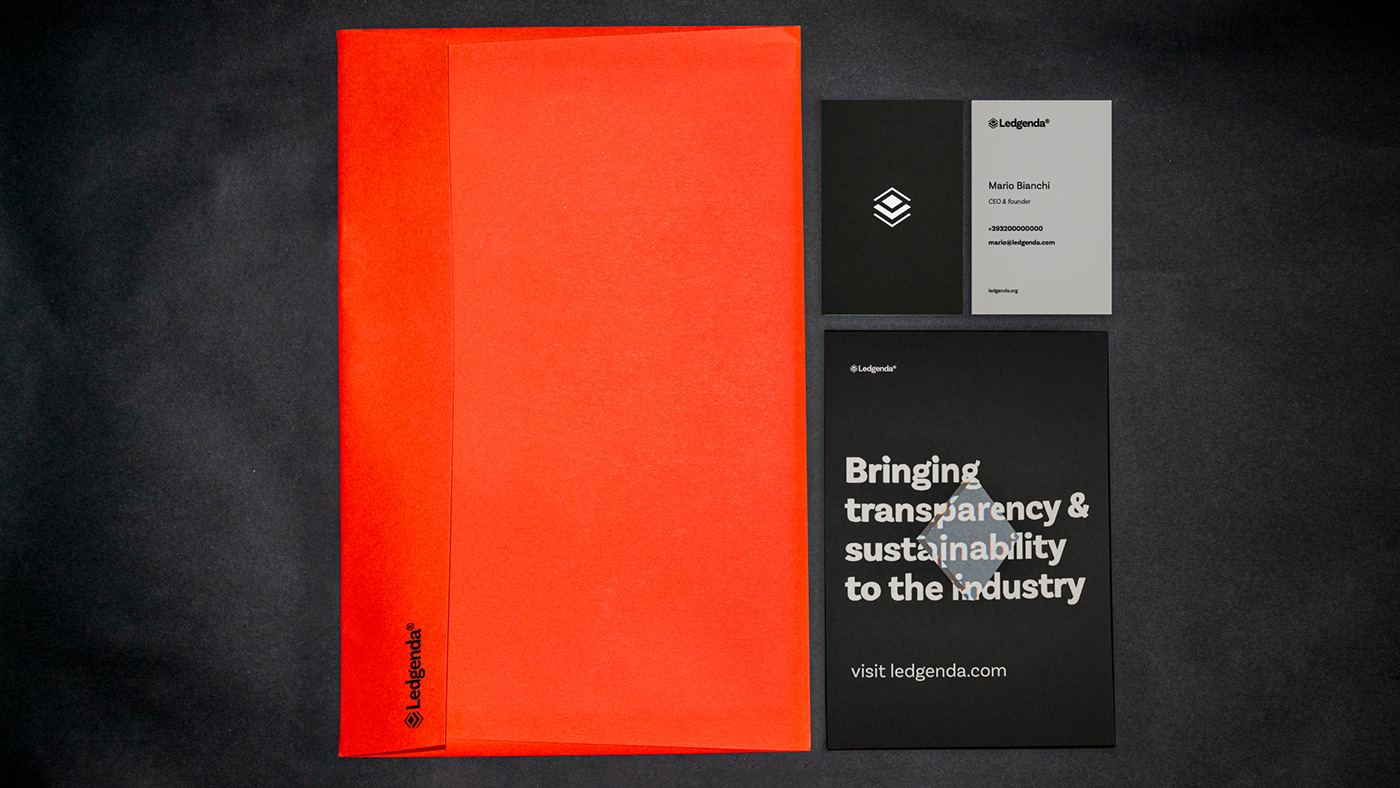 stationery items: envelope, postcard and business cards