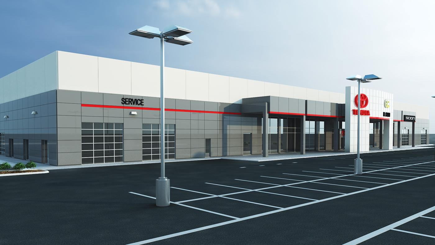 Toyota Of San Diego >> 3D Rendering Toyota Dealership on Behance