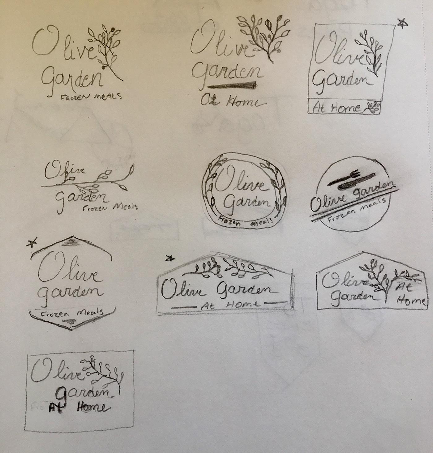 Olive Garden frozen meal sketches on Behance
