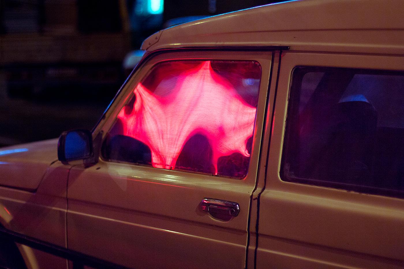 car night glow drops neon colorful smooth lights acid glass
