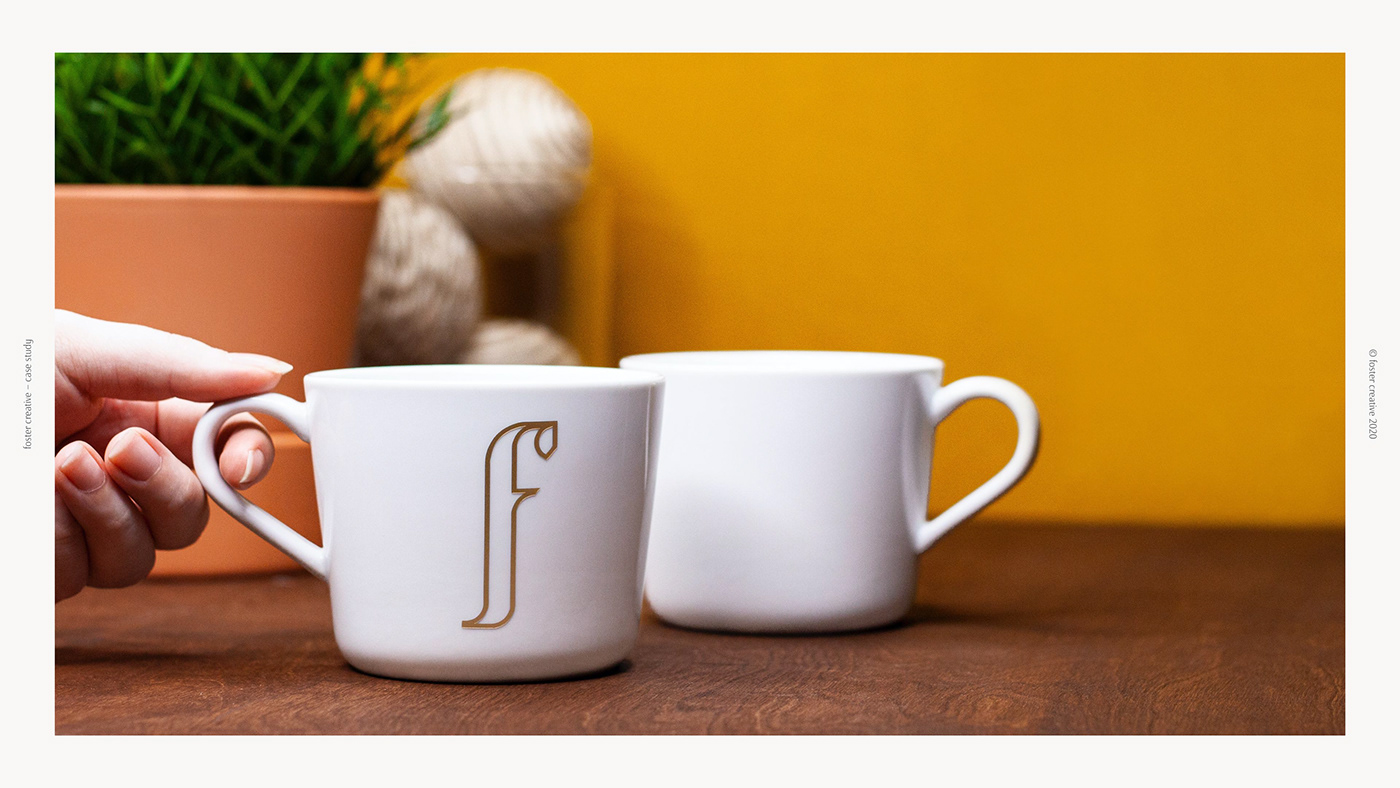 Foster Creative, a creative studio located in Vancouver BC, showing a monogram on a tea/coffee mug.