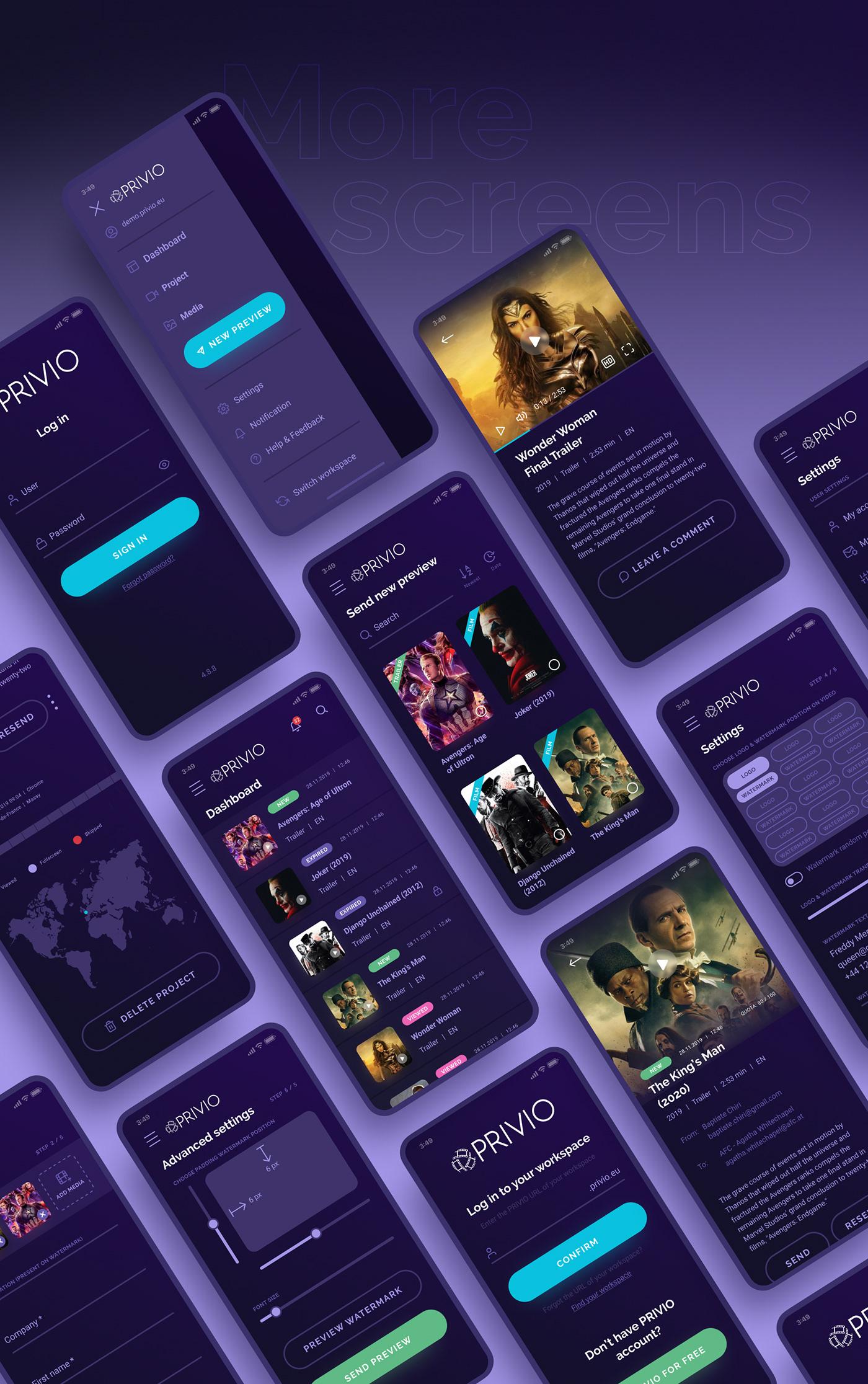animation  app app design application product design  purple UI video app Mobile app UI/UX