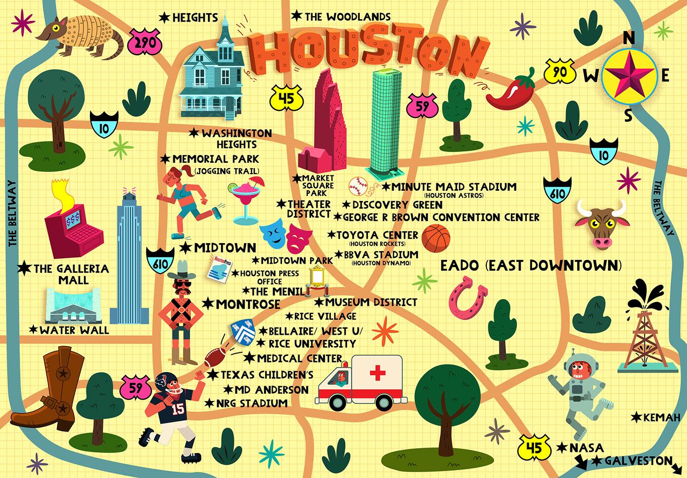 Medical Center Houston Map.Whimsical Map For Houston Press On Behance